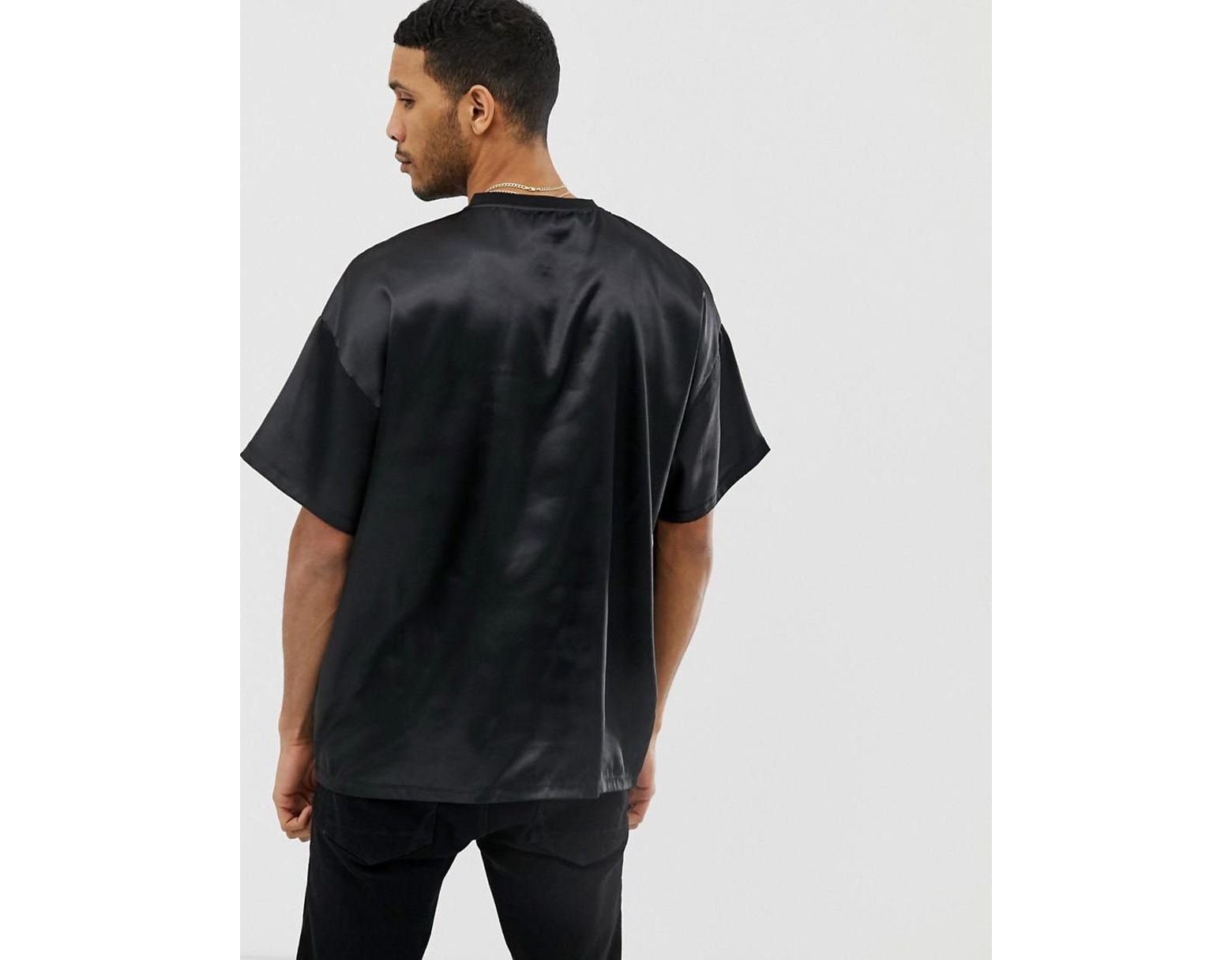 145c8652bf42 ASOS Oversized T-shirt In Satin Fabric In Black in Black for Men - Lyst