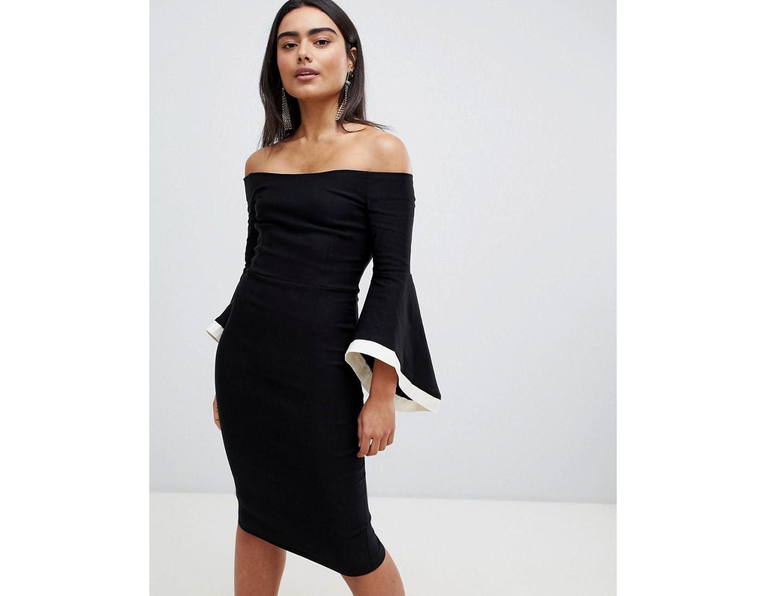 ede6fccb47243 Vesper Bardot Flute Sleeve With Contrast Detail Midi Dress in Black - Lyst