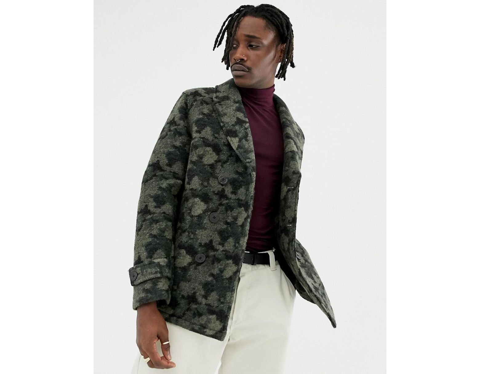 ae138e3273cfc ASOS Wool Mix Peacoat In Camo in Green for Men - Lyst