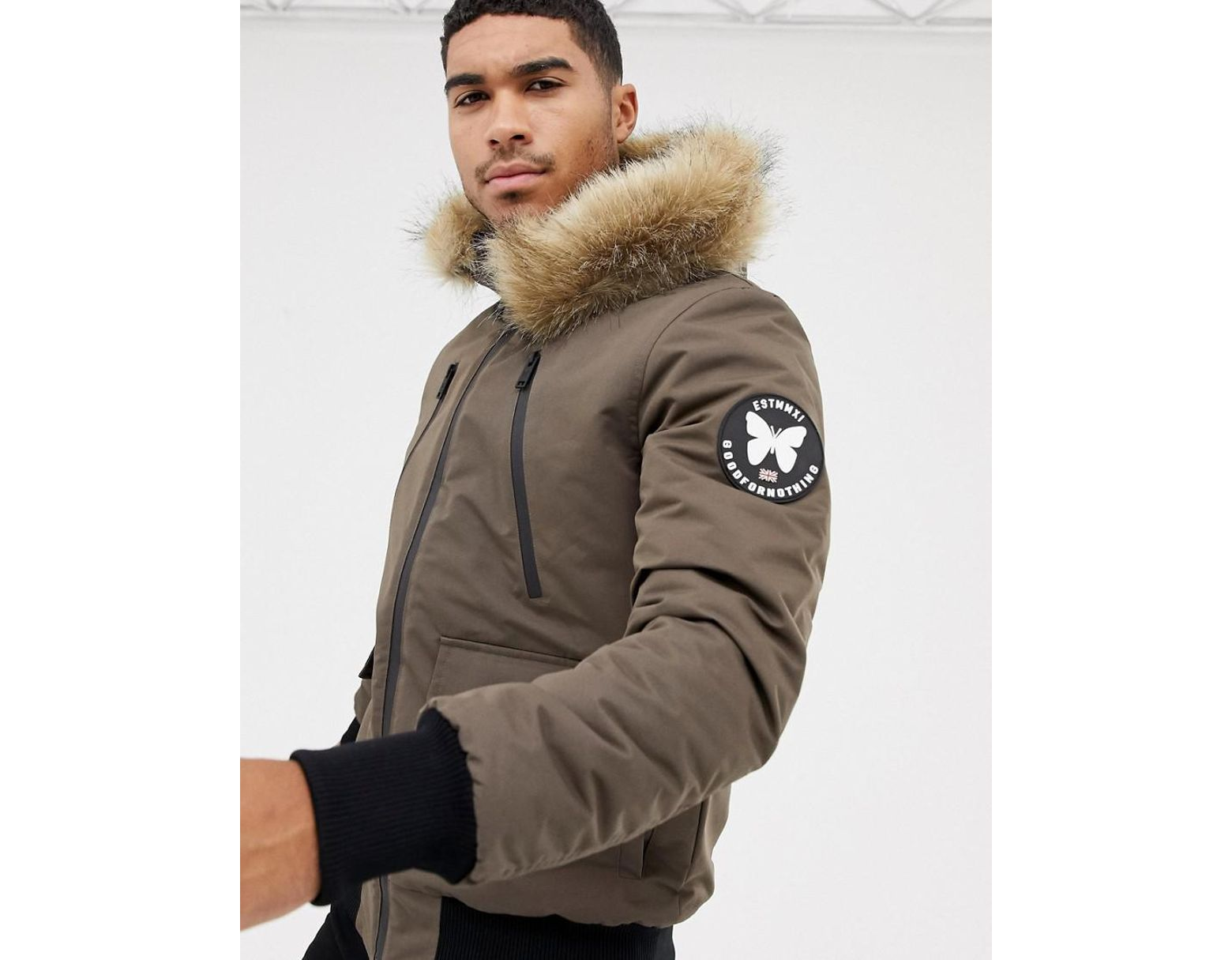 9e99df94b782f Good For Nothing Bomber Jacket In Brown With Faux Fur Hood in Brown for Men  - Lyst
