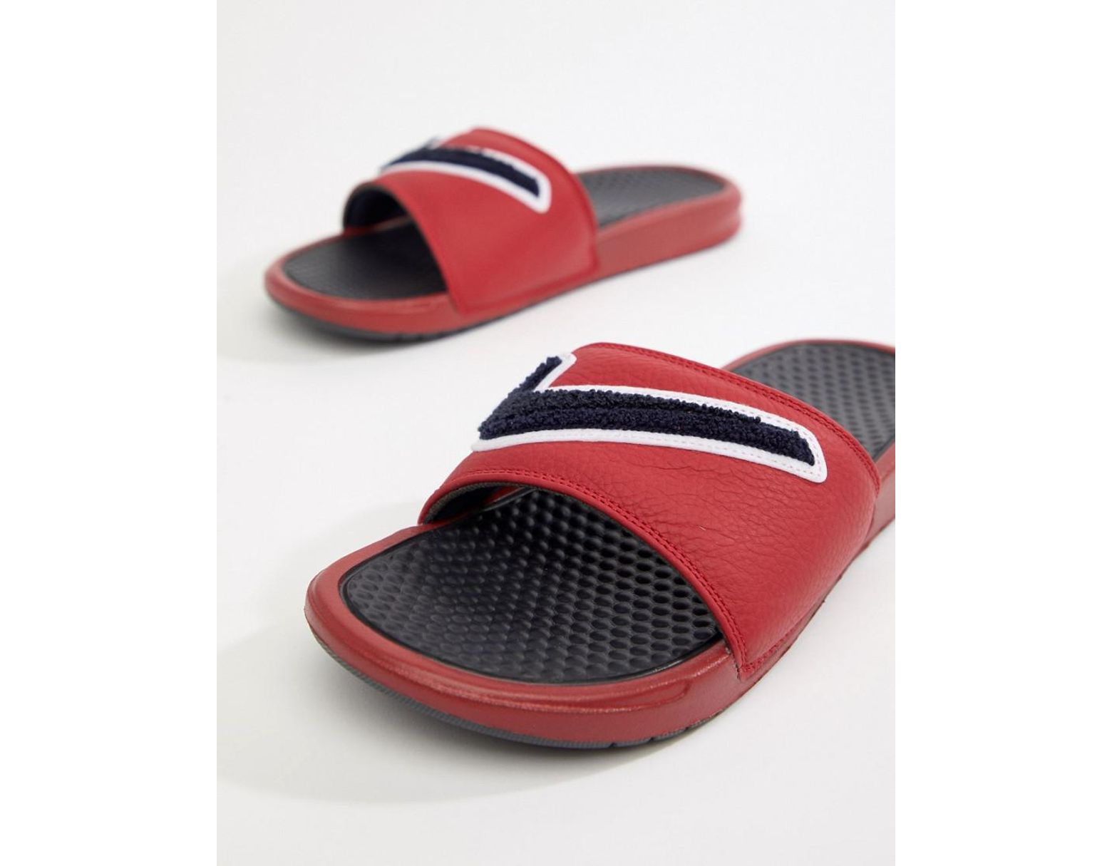 d3549c8a4 Nike Benassi Jdi Chenille Sliders In Red Ao2805-600 in Red for Men - Lyst