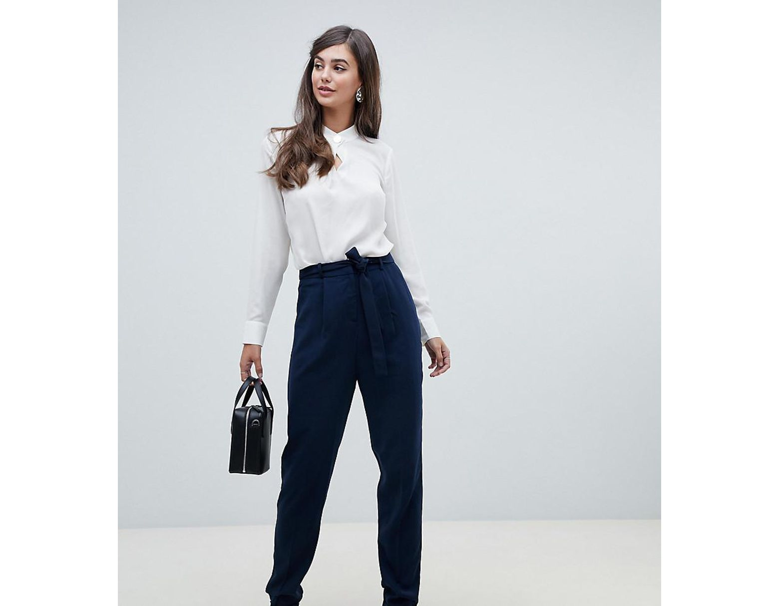 33727e95bf27e ASOS Asos Design Tall Woven Peg Trousers With Obi Tie in Blue - Lyst