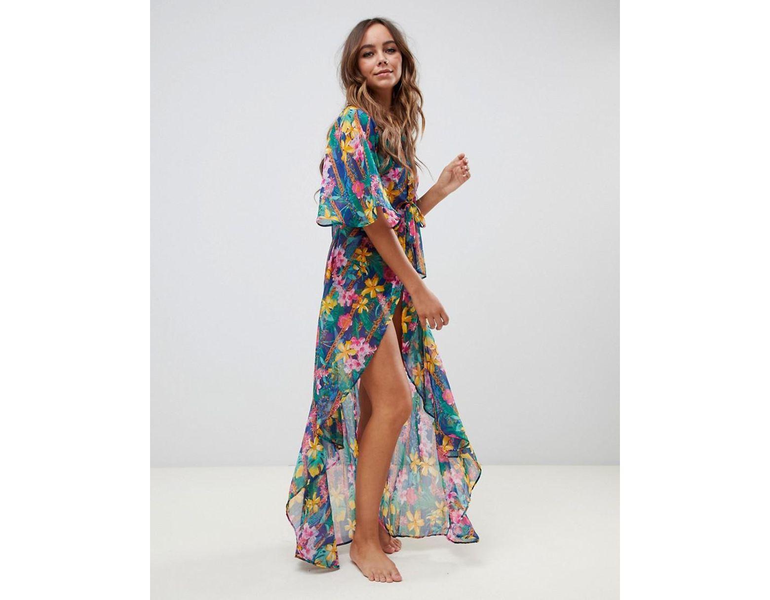 5a3c5987c05 ASOS Dipped Hem Chiffon Kimono In Glam Tropical Chain Print in Blue - Lyst