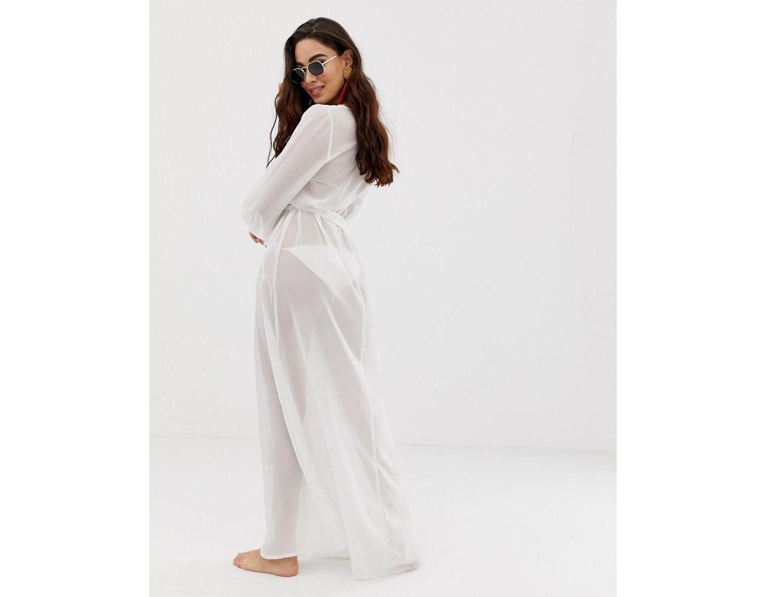 d8191dfb42 ASOS Recycled Long Sleeve Wrap Tie Chiffon Maxi Beach Kimono In White in  White - Lyst