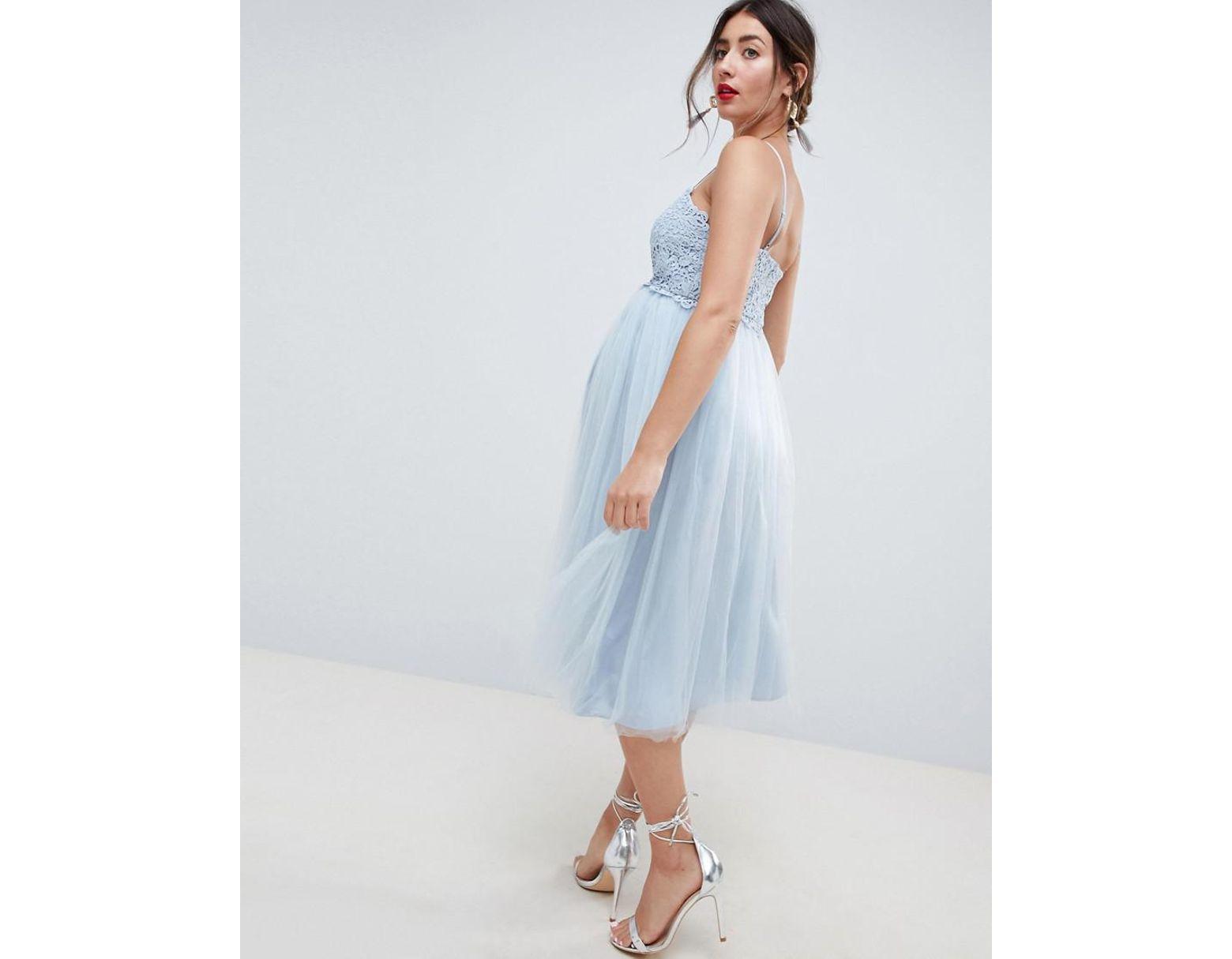 876f12acf29b ASOS Asos Design Maternity Premium Lace Cami Top Tulle Midi Dress in Blue -  Lyst