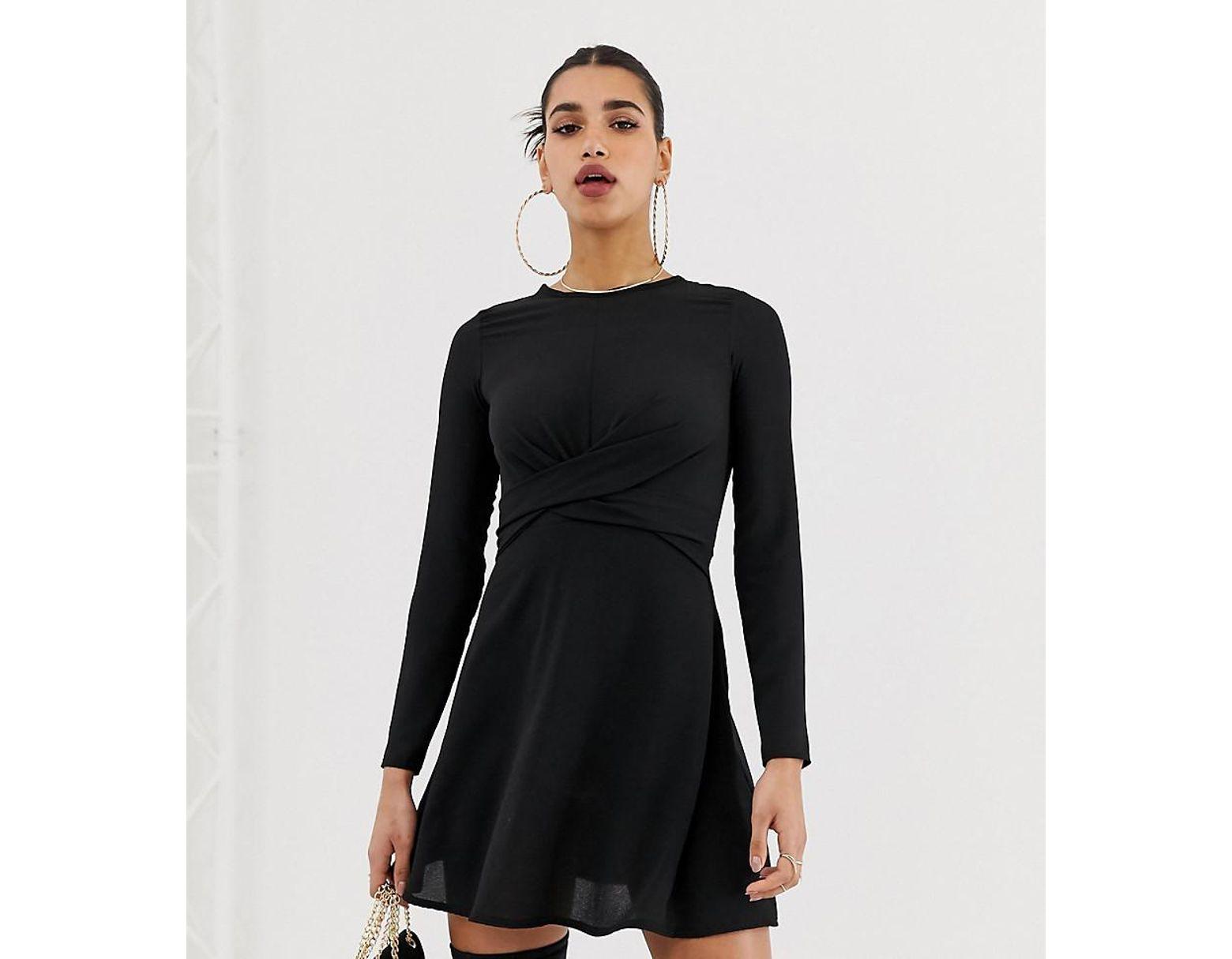 207a6d0df9bc Boohoo Exclusive Twist Wrap Skater Mini Dress In Black in Black - Lyst