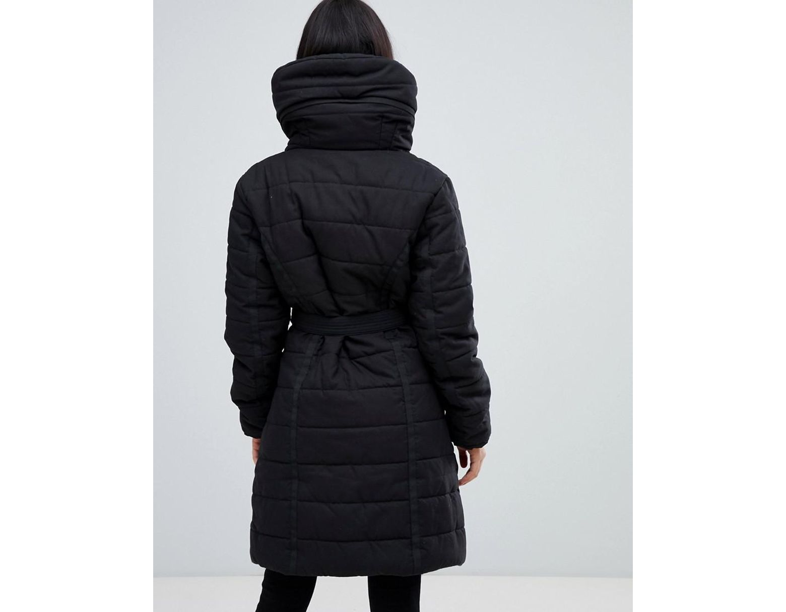 bf364a06b AX Paris Belted Padded Jacket With Faux Fur Lining in Black - Lyst
