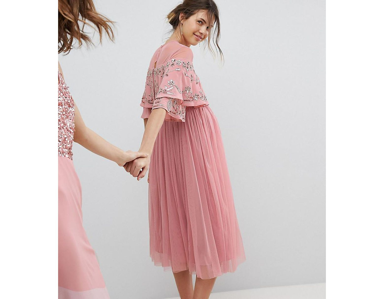 15ab72ba401e9 Maya Maternity Sheer Detail Sequin Cape Overlay Detail Midi Dress in Pink -  Lyst