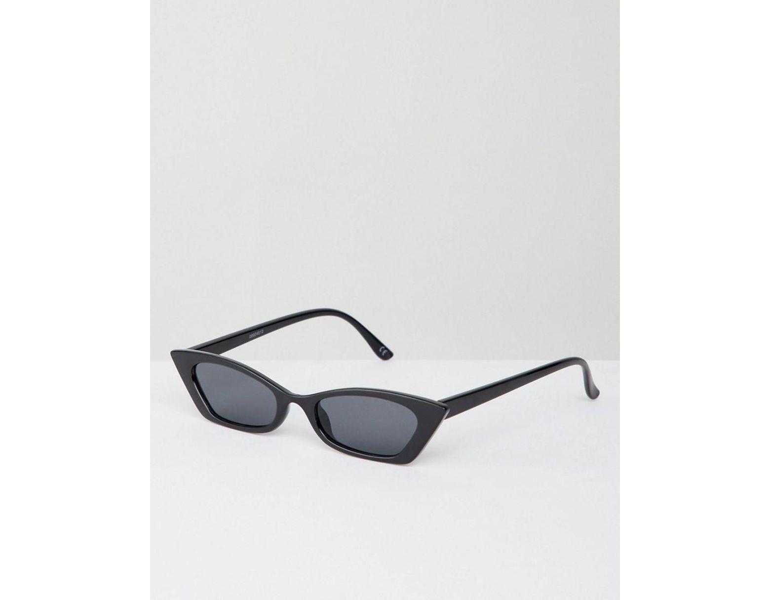 f1ef43268eb4d ASOS Squared Off Narrow Cat Eye Sunglasses in Black - Lyst