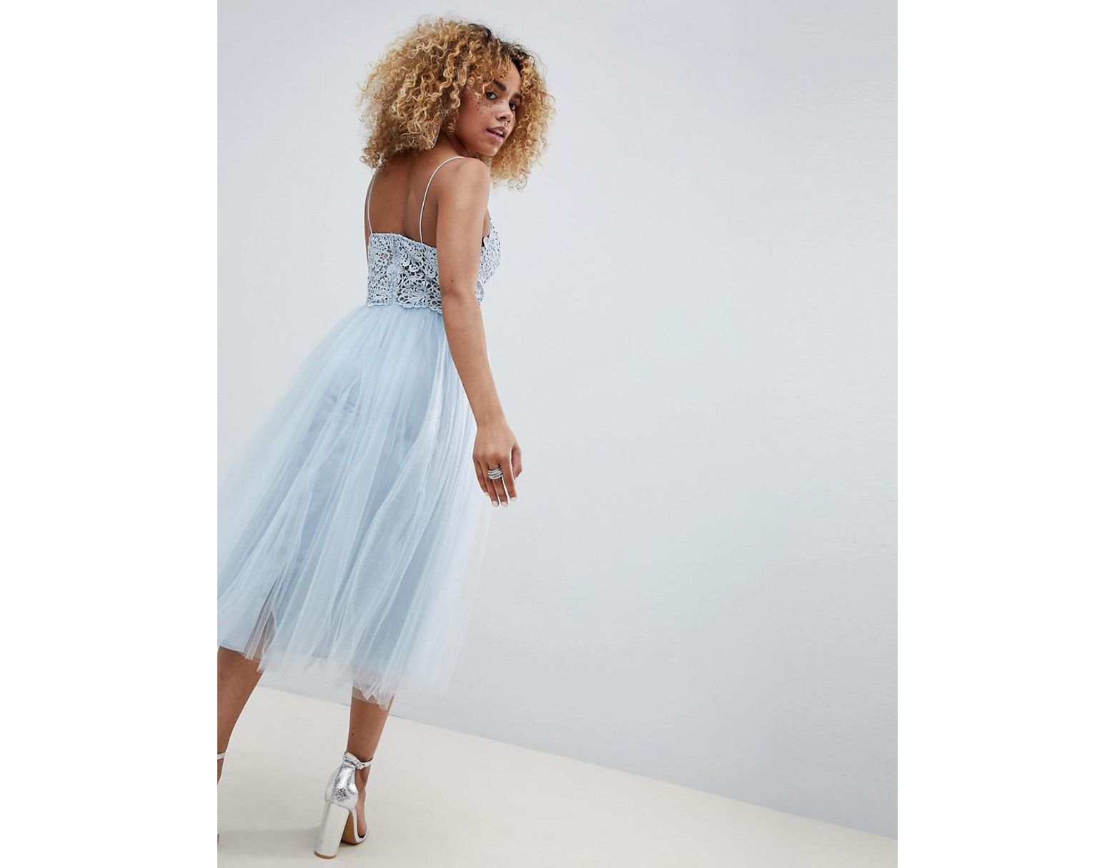 818bddeb289e ASOS Asos Design Petite Premium Lace Cami Top Tulle Midi Dress in Blue -  Lyst