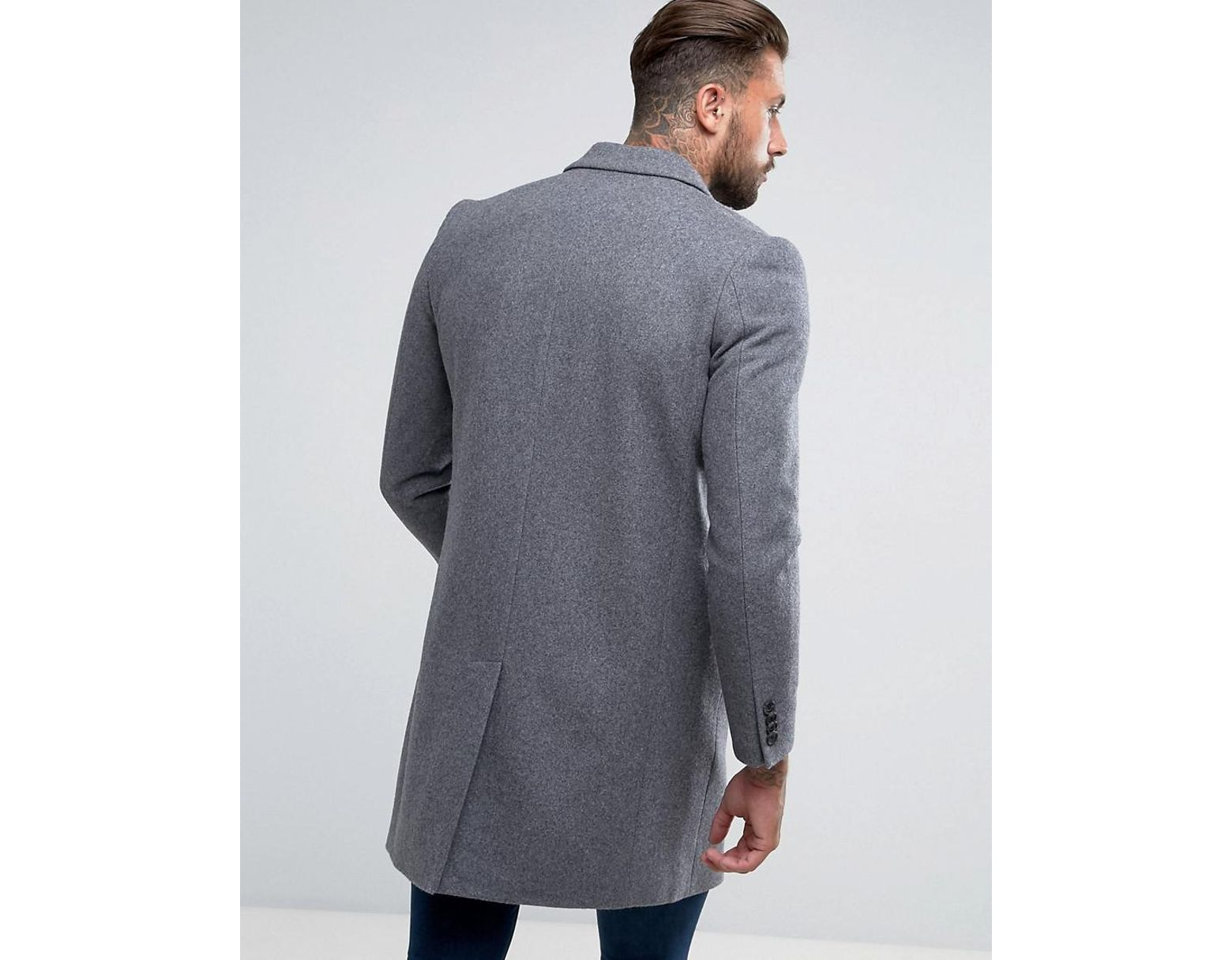 dfda0aab0e78 ASOS Wool Mix Overcoat In Light Grey Marl in Gray for Men - Save 41% - Lyst