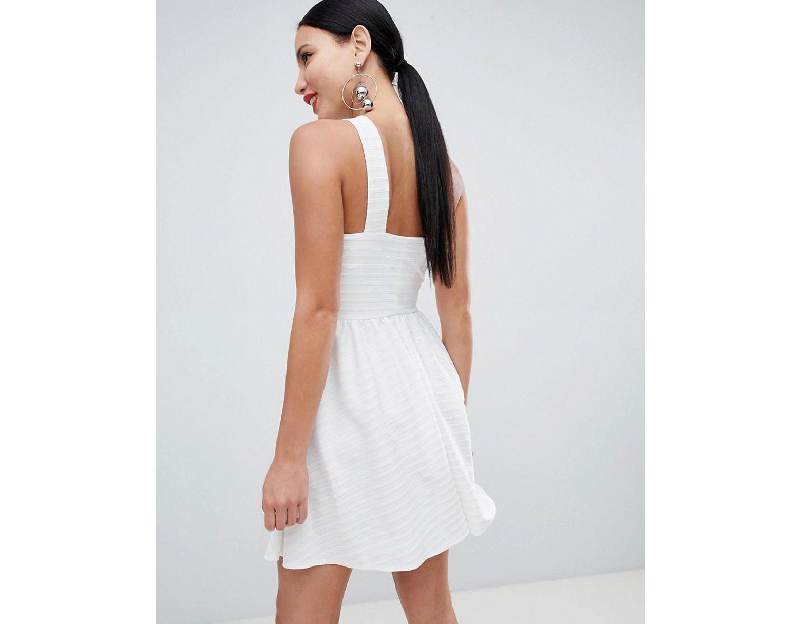 8276eec5898e ASOS Cross Neck Bandage Mini Skater Dress in White - Lyst