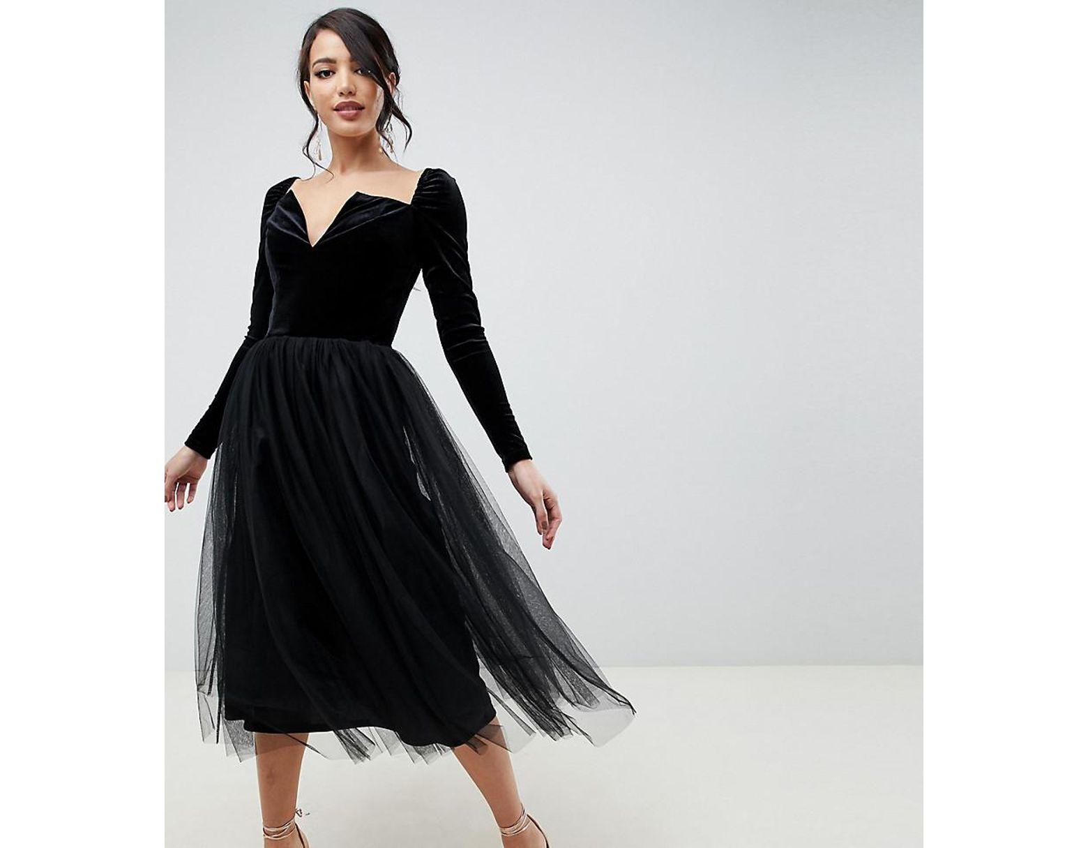 1d06fee5f7c ASOS Asos Design Tall Velvet Tulle Midi Dress in Black - Lyst
