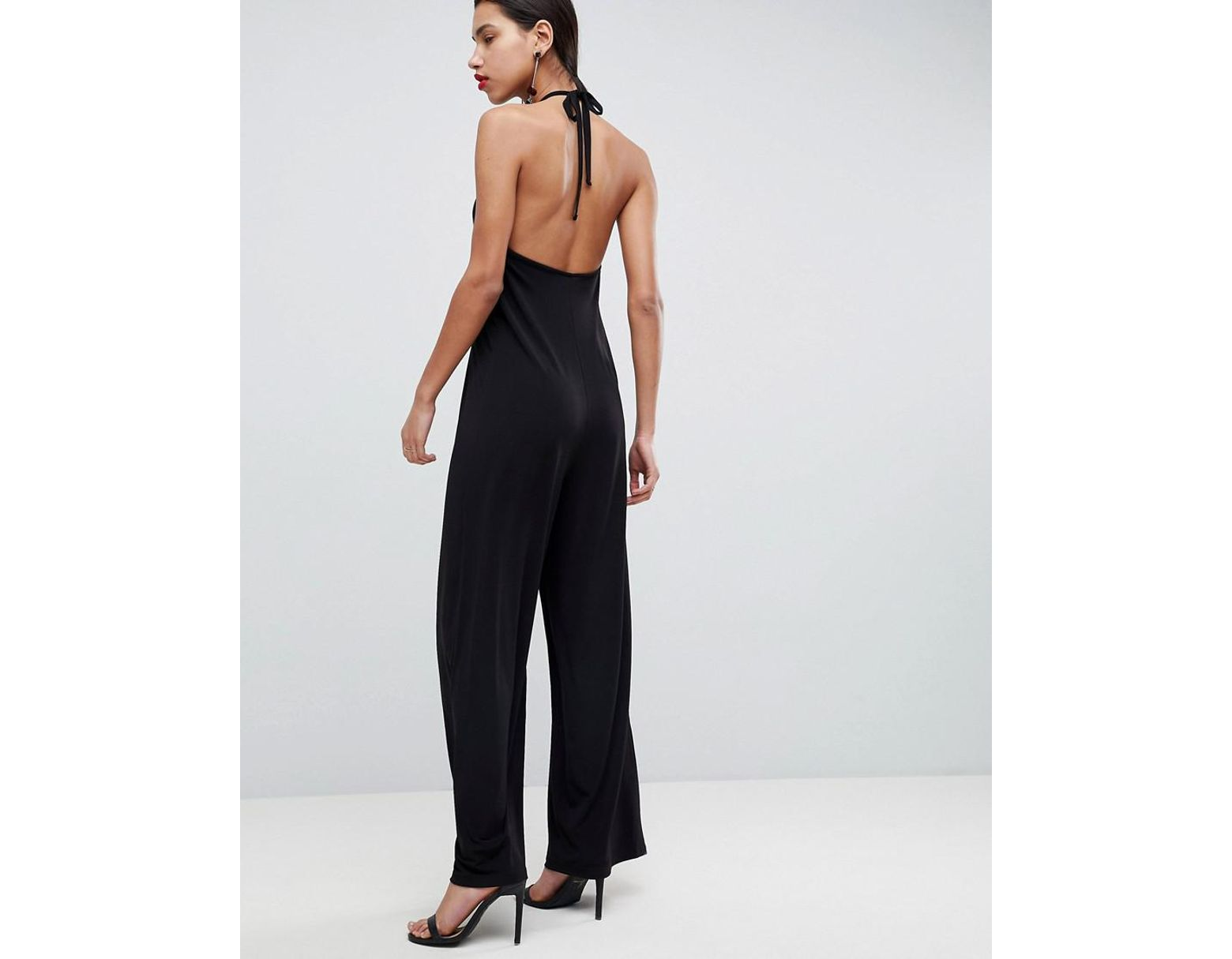 6ec6c30c1630 ASOS Asos Slinky Jumpsuit With Gathered Waist in Black - Lyst