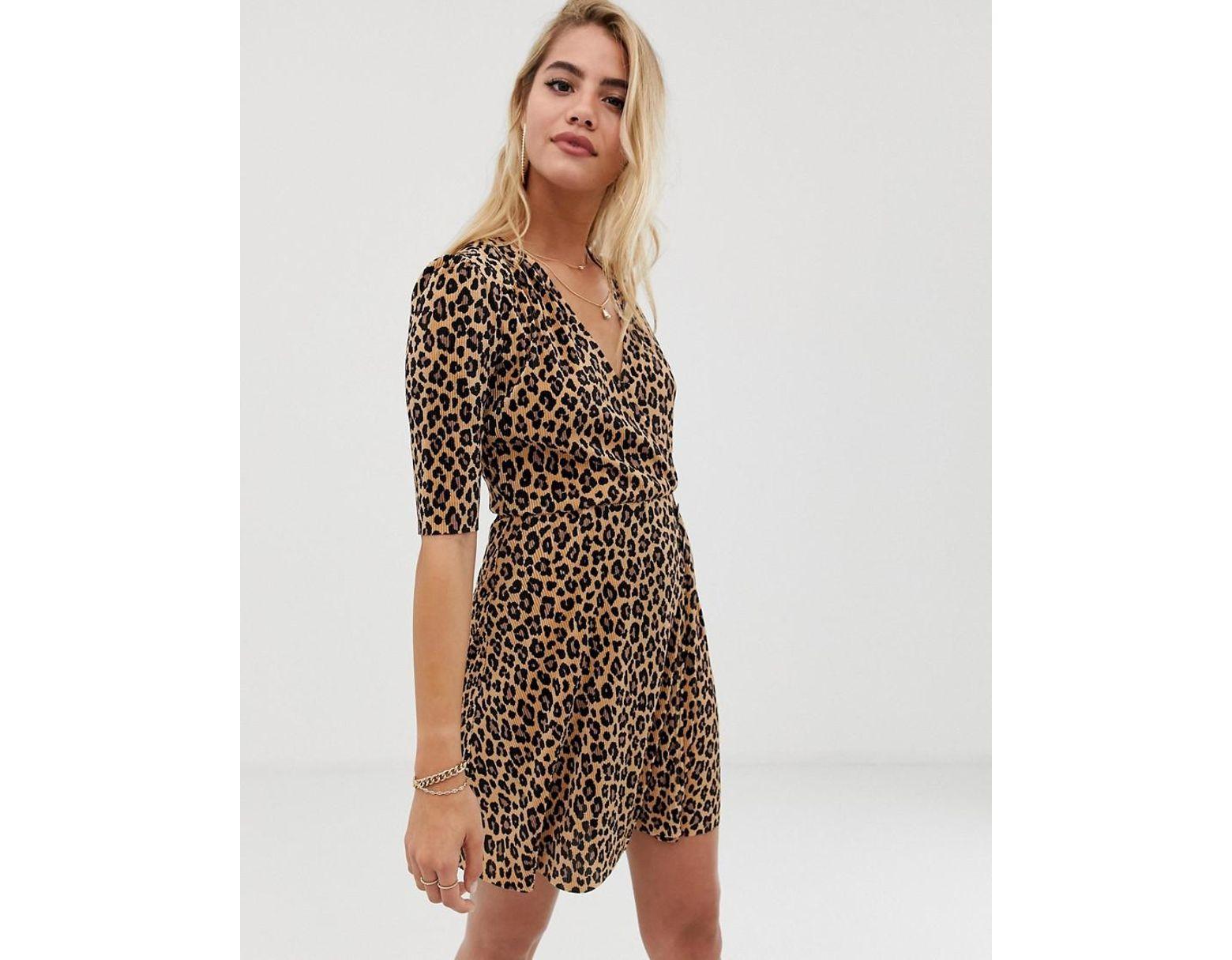 f3ba33a7fe92 ASOS Asos Design Petite Leopard Print Plisse Mini Dress With Button Detail  in Brown - Lyst