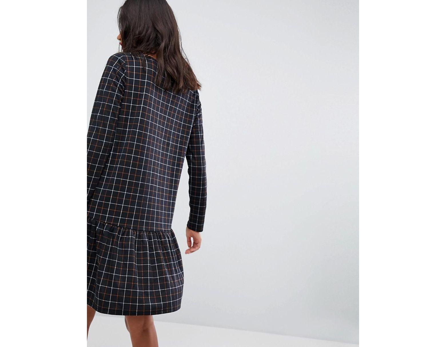 6cc0a8f6f Vero Moda Check Print Frill Hem Mini Dress - Lyst