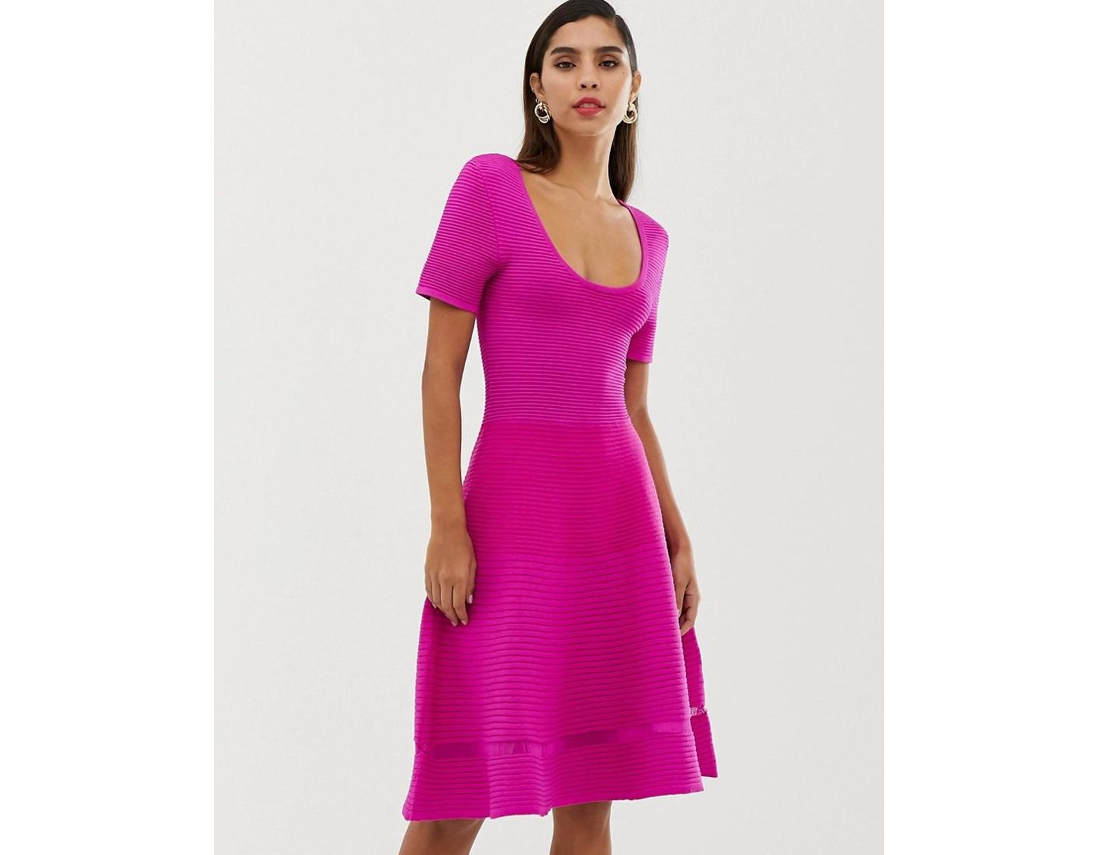 dd17de2f7aa French Connection Volette Crepe Knit Mini Dress in Pink - Lyst
