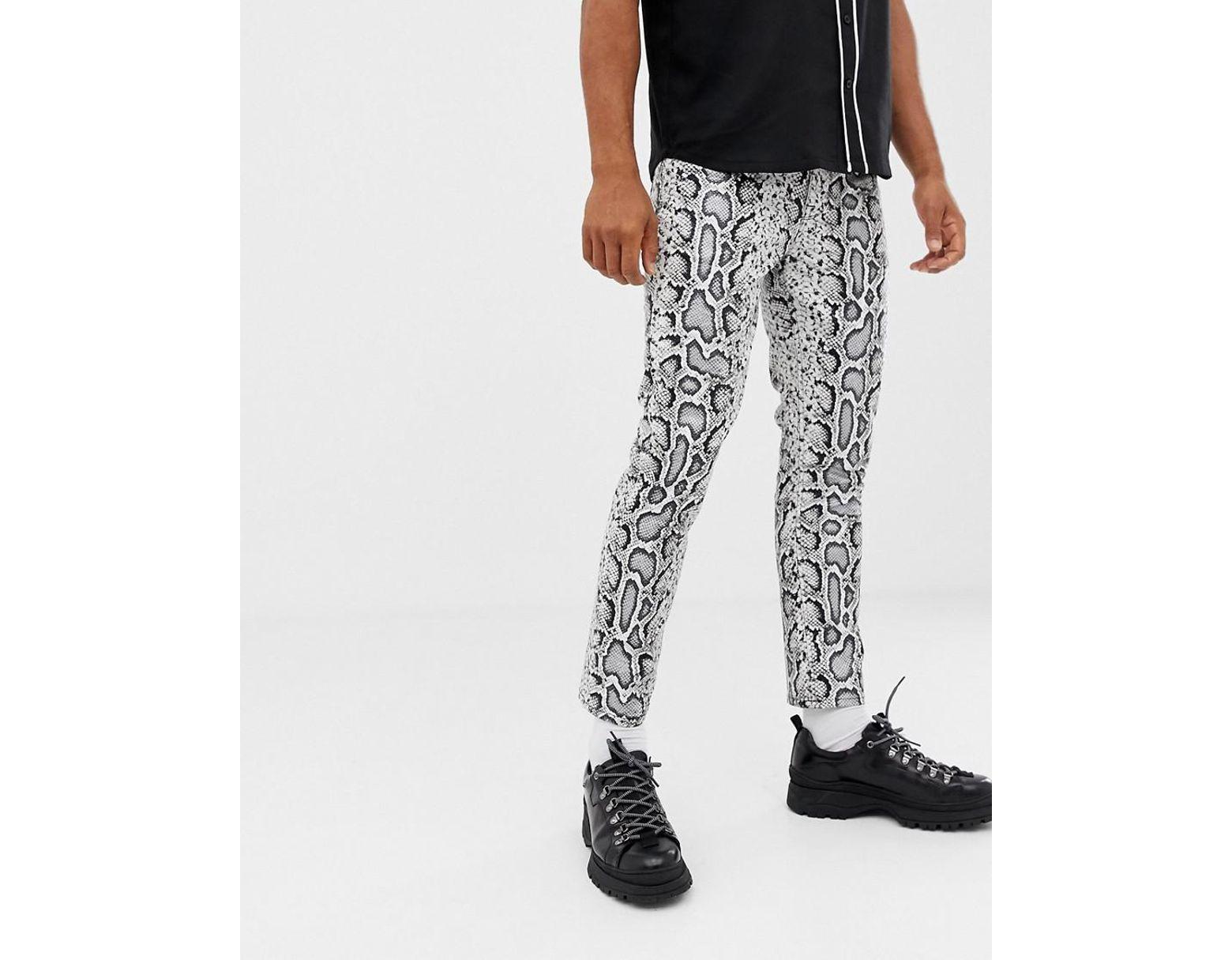 9187522479e3b0 ASOS Skinny Jeans In Leather Look Snake Skin in Brown for Men - Lyst