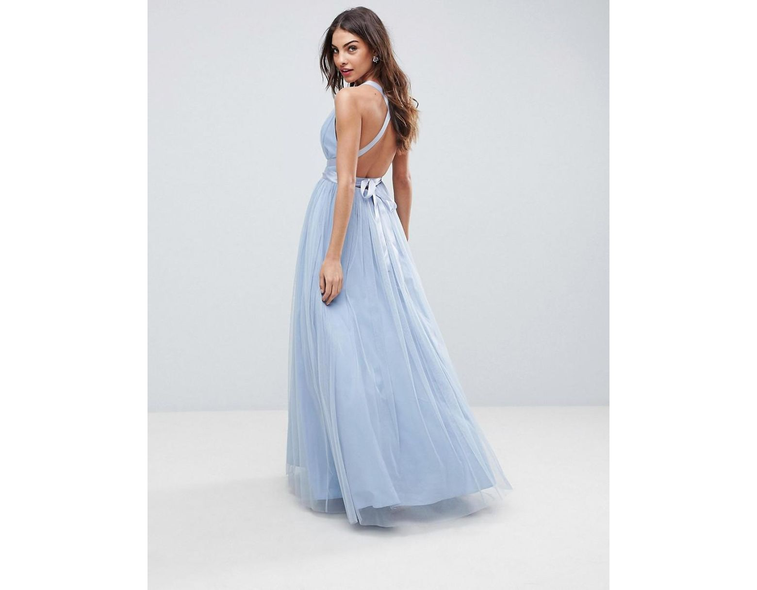 5eec38908dcd ASOS Premium Tulle Maxi Prom Dress With Ribbon Ties in Blue - Lyst