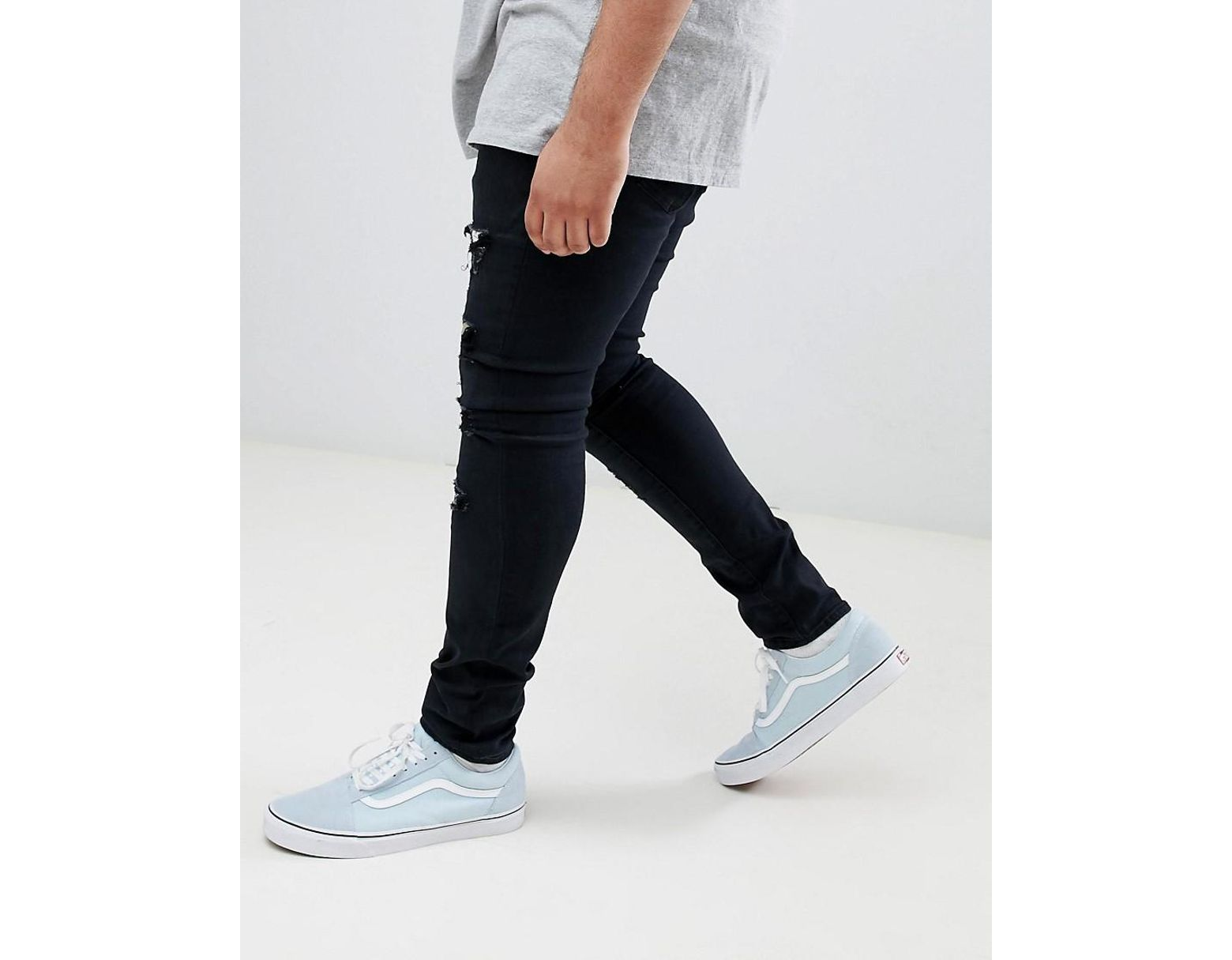 ebe67c5765 Sixth June Super Skinny Jeans In Black With Multi Print Distressing in Black  for Men - Save 41% - Lyst