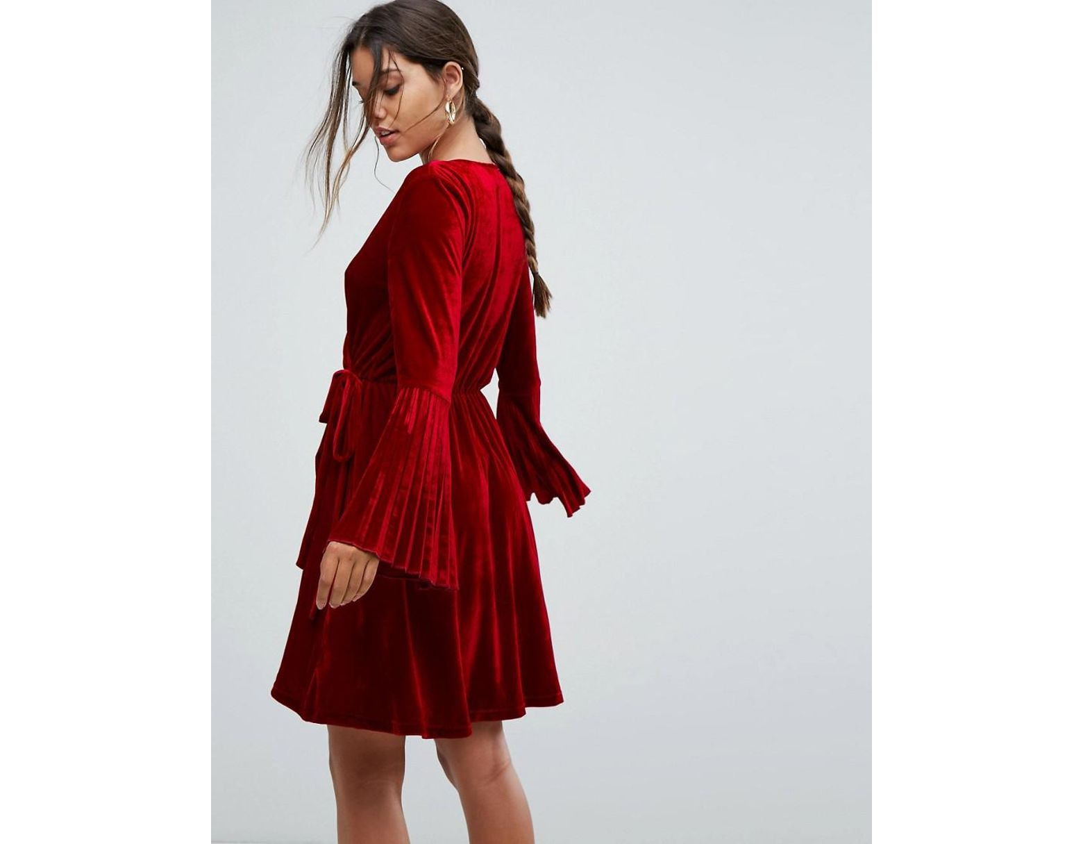 f5d279dfd71 Aeryne Velvet Wrap Dress With Pleated Sleeves in Red - Lyst