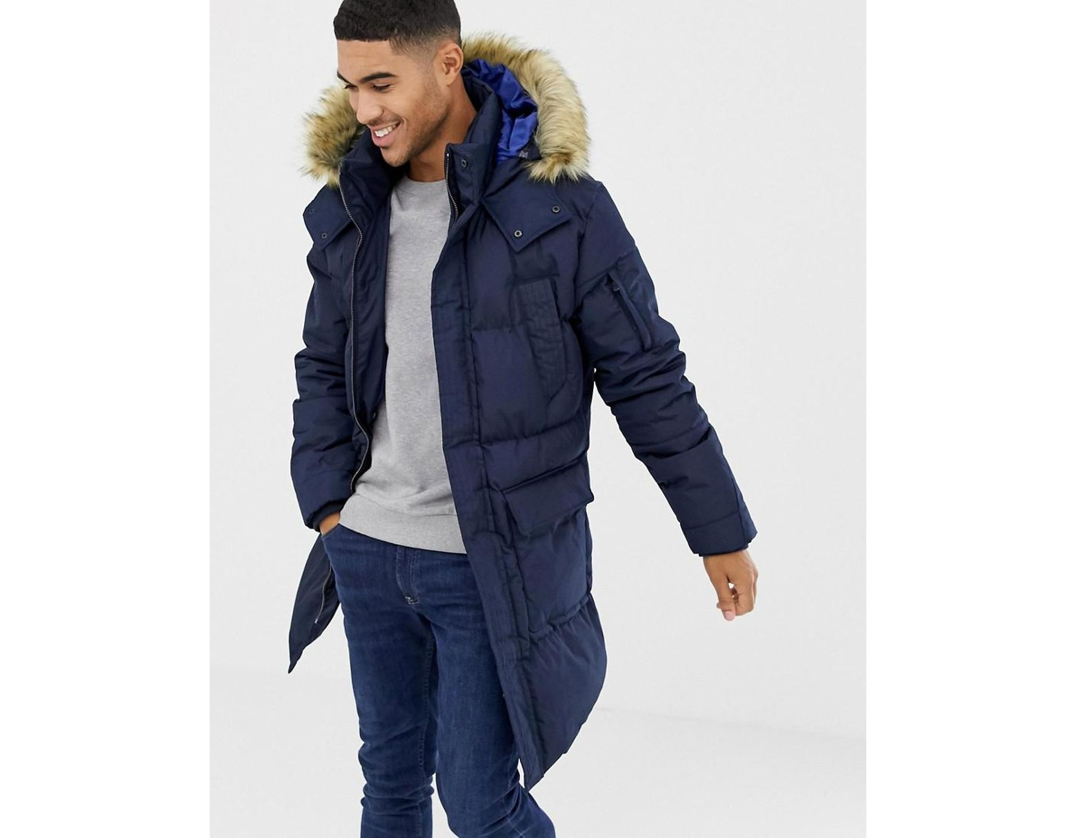 02ed866b19fed Bershka Parka In Navy With Faux Fur Hood in Blue for Men - Lyst