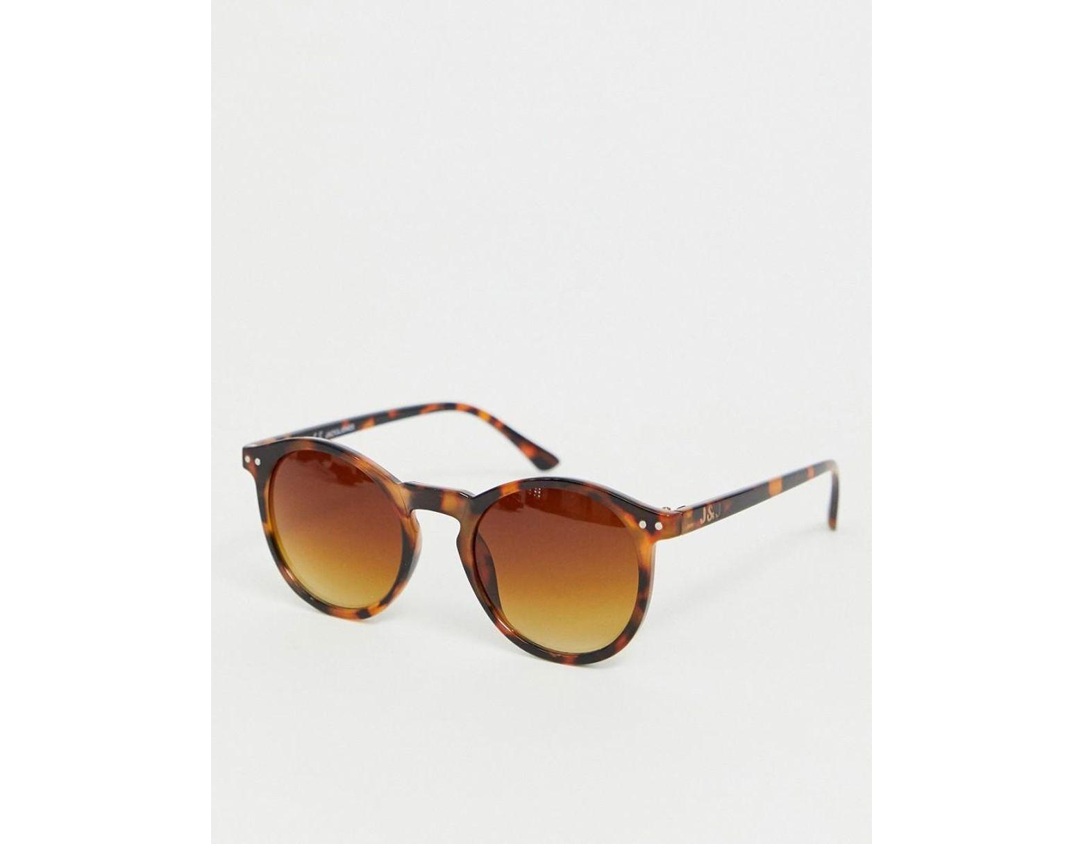 dd2f576afc Gafas de sol con montura redonda de efecto carey de Jack & Jones de hombre  de color Marrón - Lyst