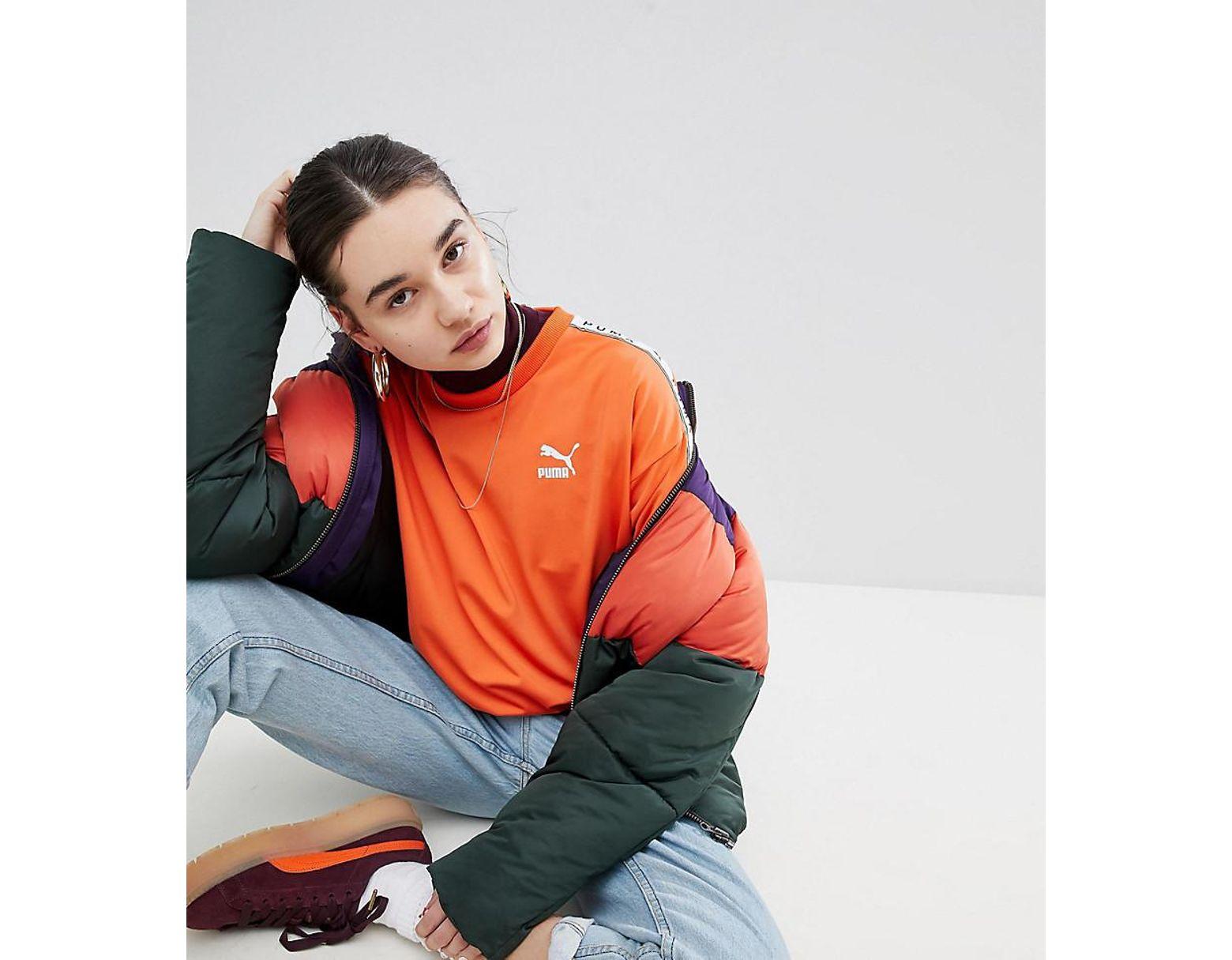 078d8cf3cbd PUMA Exclusive To Asos Sweatshirt With Taped Side Stripe In Orange in  Orange - Lyst