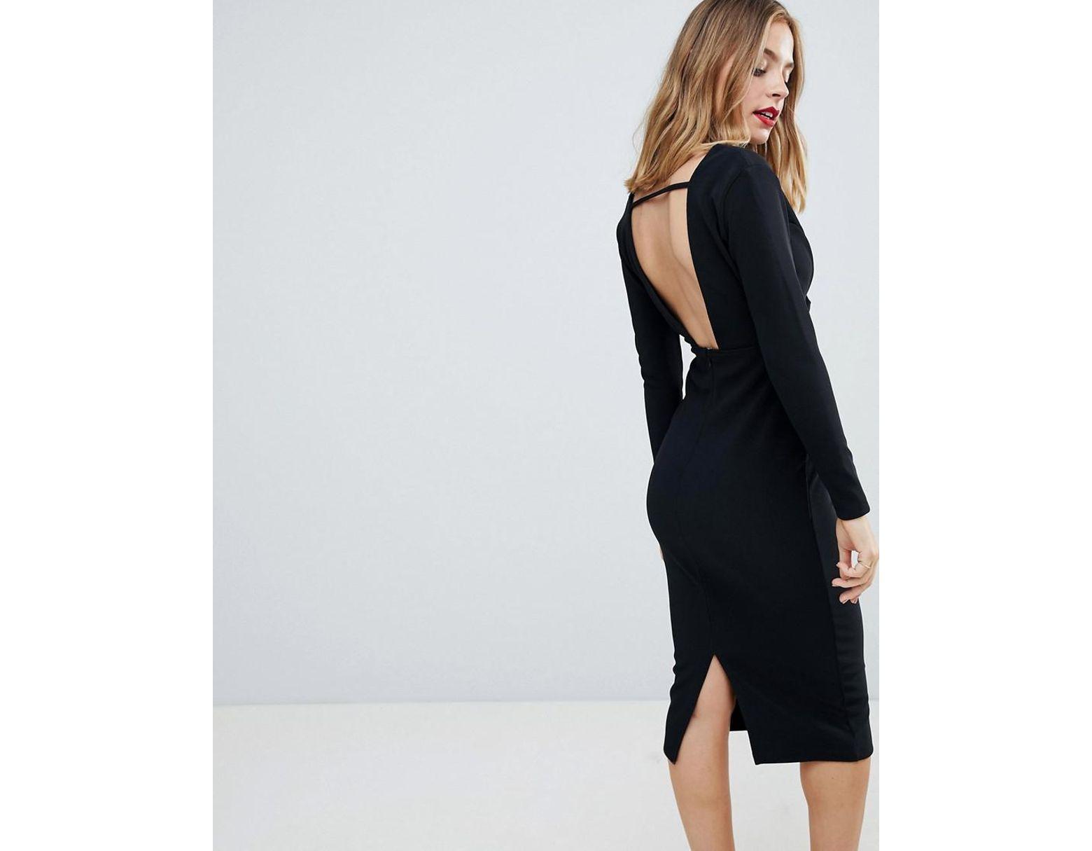 681a3dcbee ASOS Asos Design Petite Long Sleeve Exposed Underwire Bodycon Midi Dress in  Black - Lyst