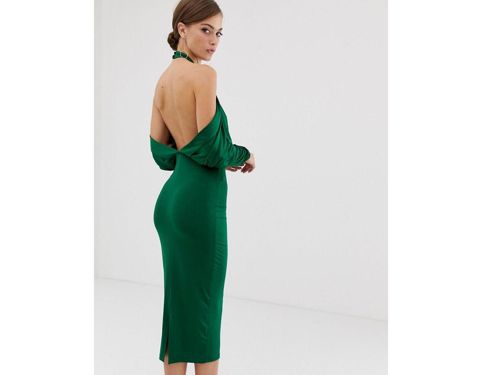 7cf0cd611d ASOS. Women s Green Slinky High Neck Blouson Sleeve Open Back Midi Dress
