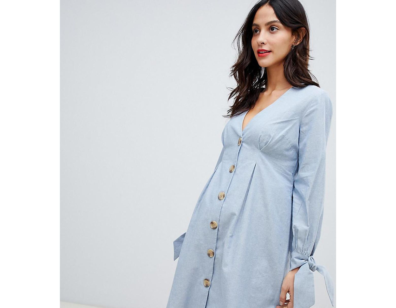 40e765fe0 ASOS Asos Design Maternity Button Through Mini Casual Skater Dress With Tie  Sleeves In Chambray in Blue - Lyst