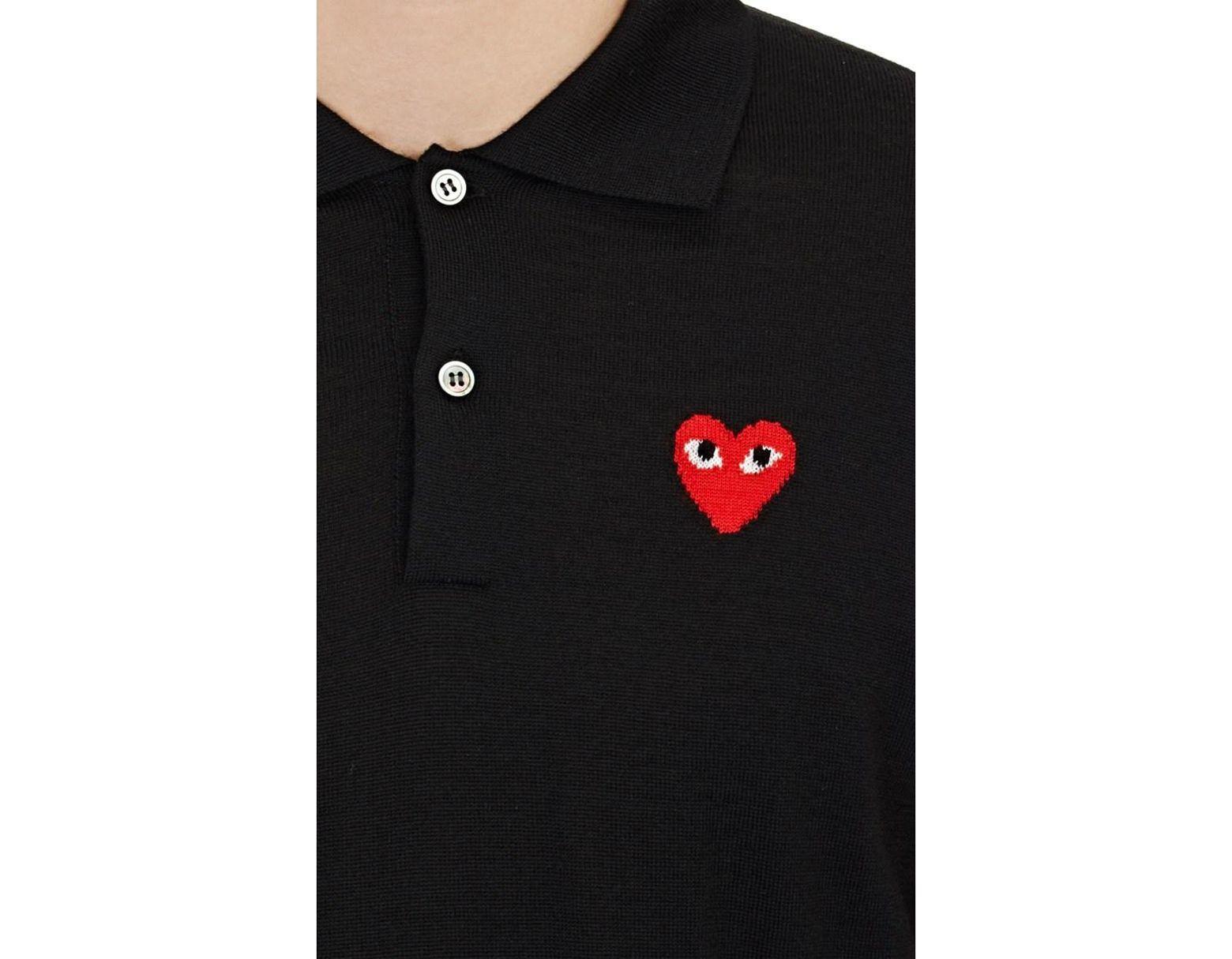 d69f50dd8 COMME DES GARÇONS PLAY Heart Wool Polo Sweater in Black for Men - Lyst