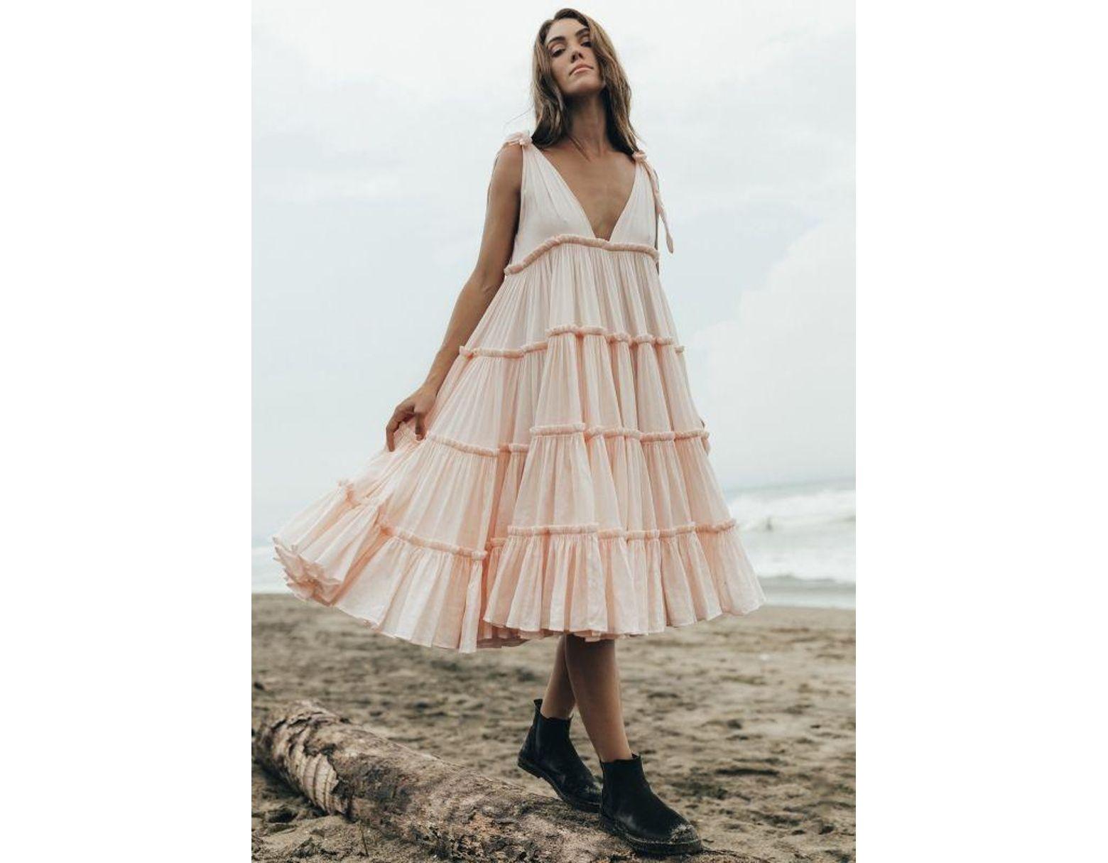 8b03b773ca82 Innika Choo Ramie Big Frill Dress Peach - Lyst