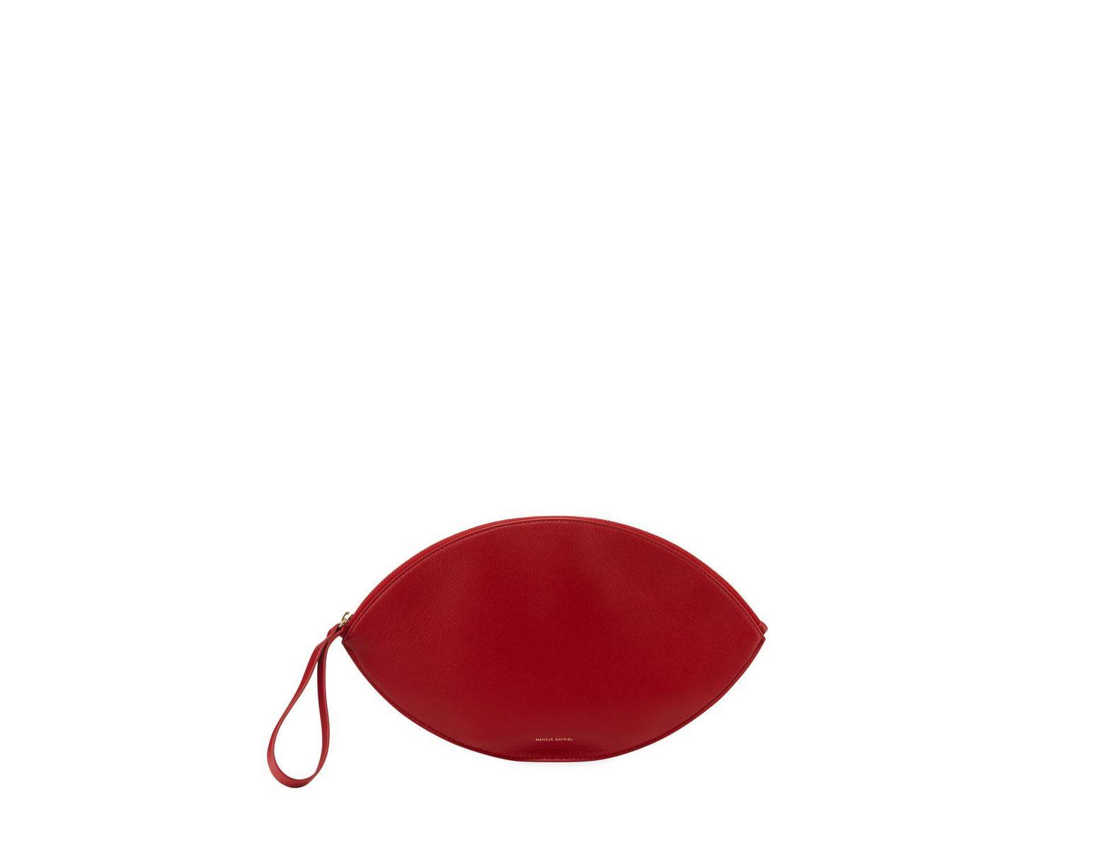 4bd90e4de3d Mansur Gavriel Leather Oval Clutch Bag in Red - Lyst