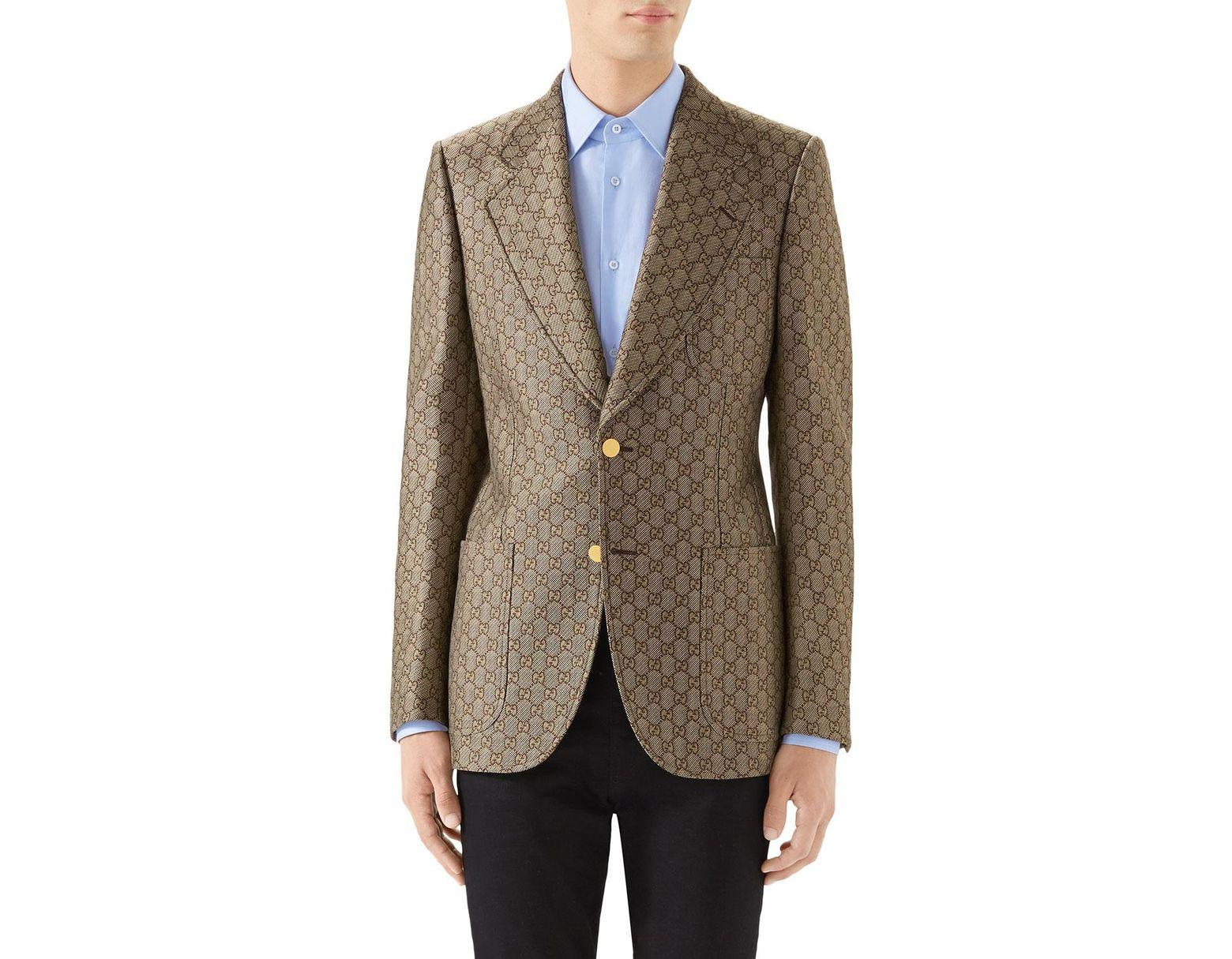 b9a723e9b Gucci Men's GG Retro Logo Blazer in Brown for Men - Lyst