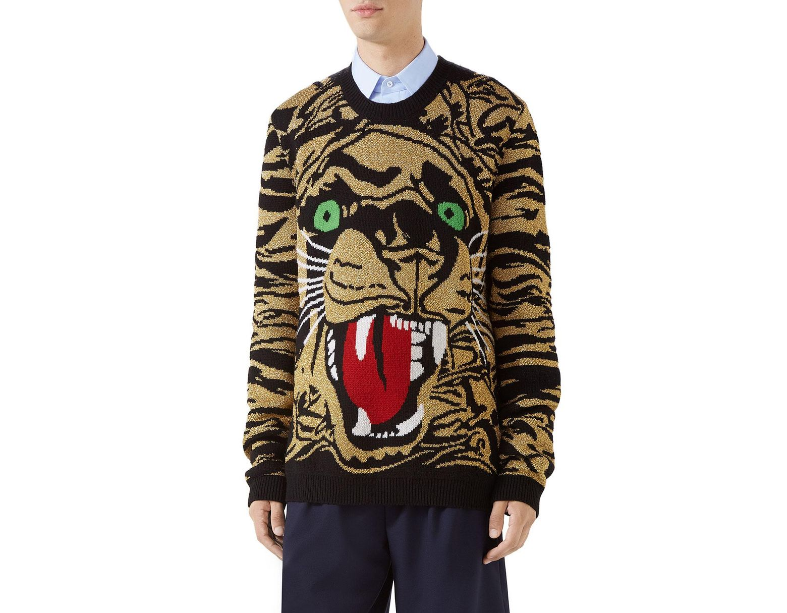 63bcdad29 Gucci Men's Metallic Tiger Pullover Sweater in Black for Men - Lyst
