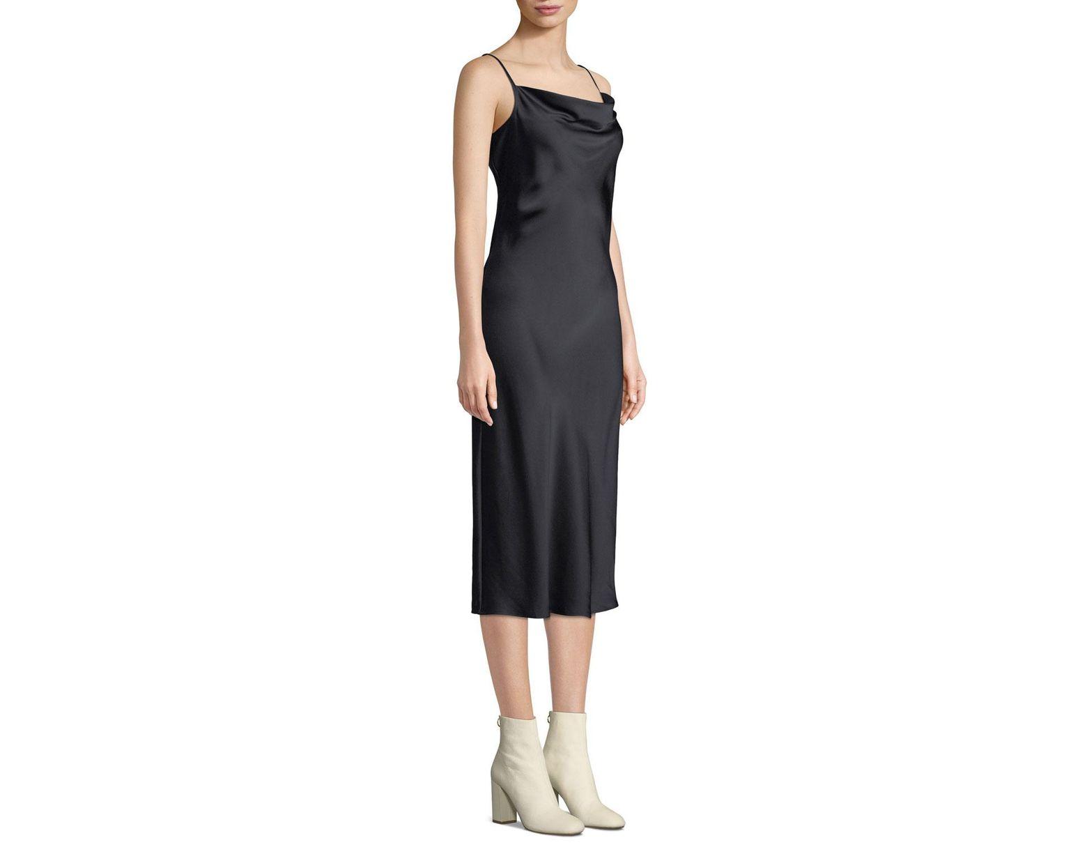 7d84b1609ed7 Joie Marcenna Cowl-neck Sleeveless Satin Midi Slip Dress in Black - Lyst