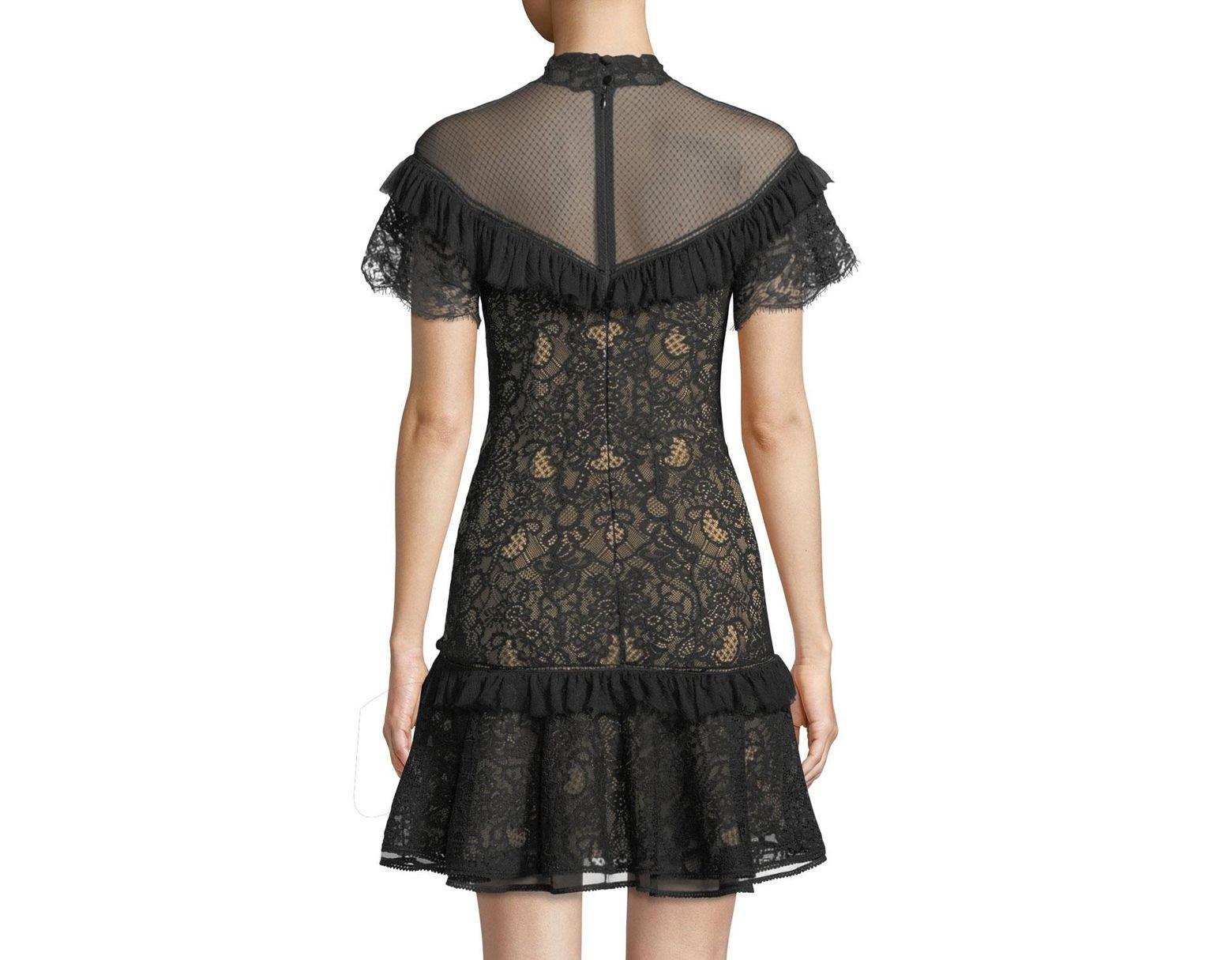 215496a994a Jonathan Simkhai Mock-neck Lace Ruffle Short Dress in Black - Save 70% -  Lyst