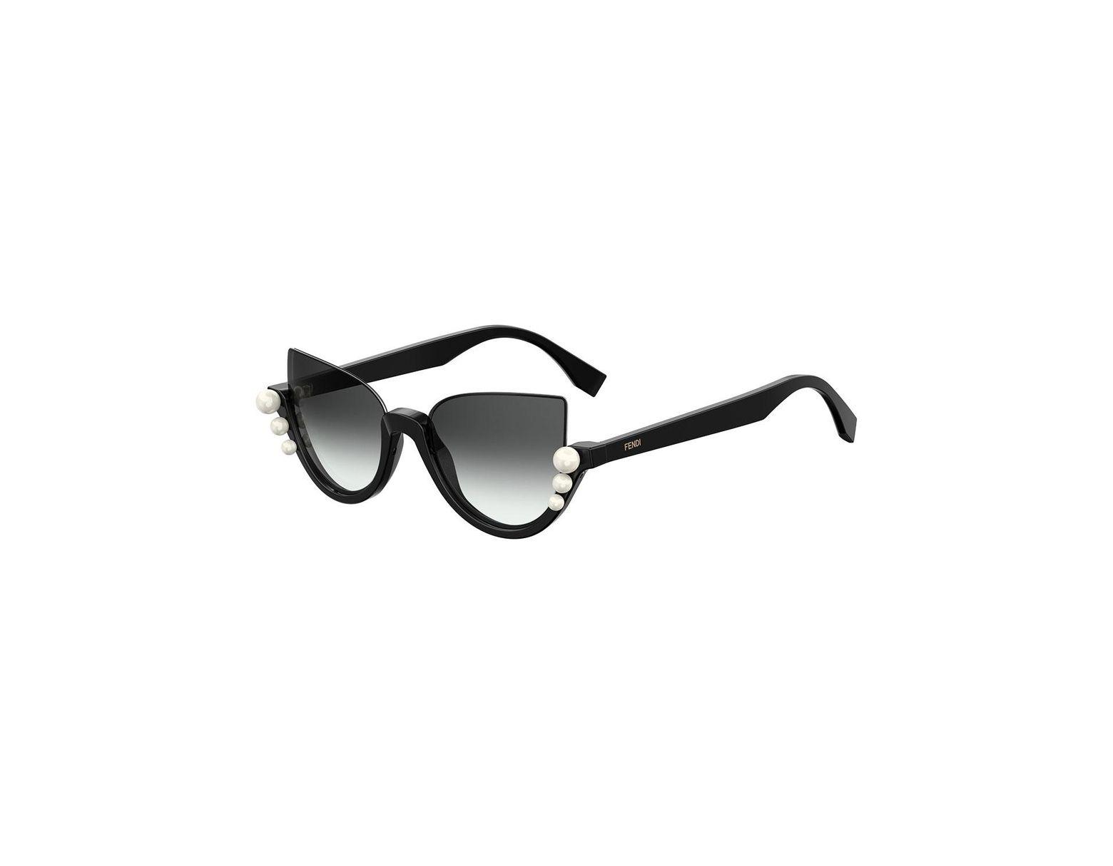 283a5b9c82044 Fendi Blink Half-rim Pearl Cat-eye Sunglasses in Black - Lyst