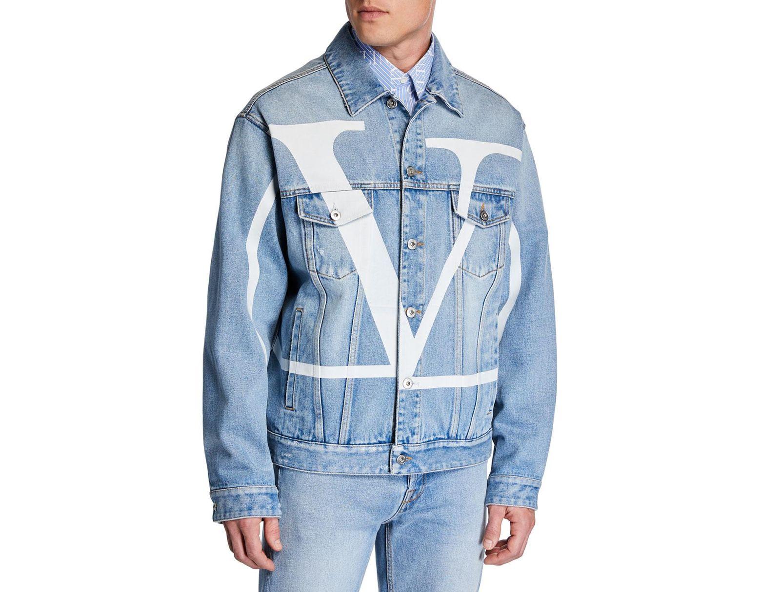 a2e8f0328b4ba Valentino Distressed Logo-print Denim Jacket in Blue for Men - Save 60% -  Lyst