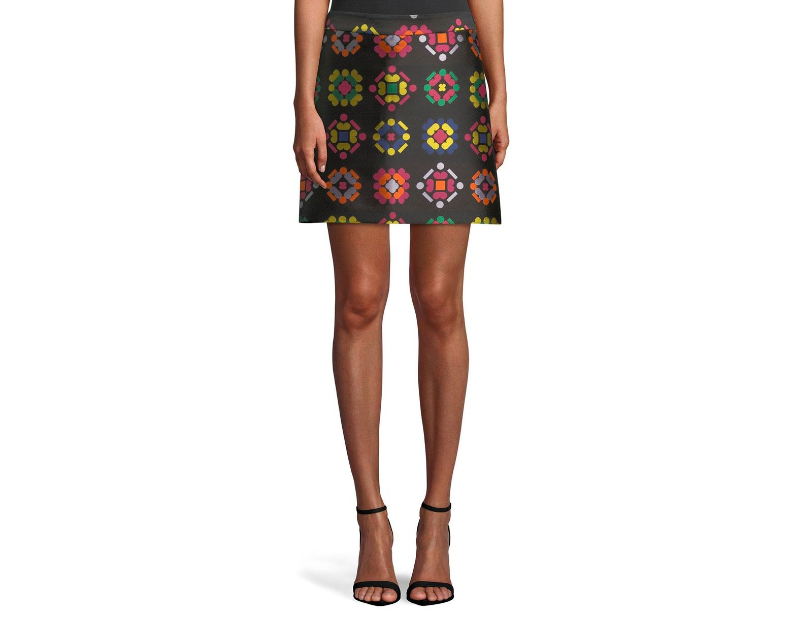 3a206fdba9e1 MILLY Geometric-jacquard A-line Mini Skirt in Black - Lyst