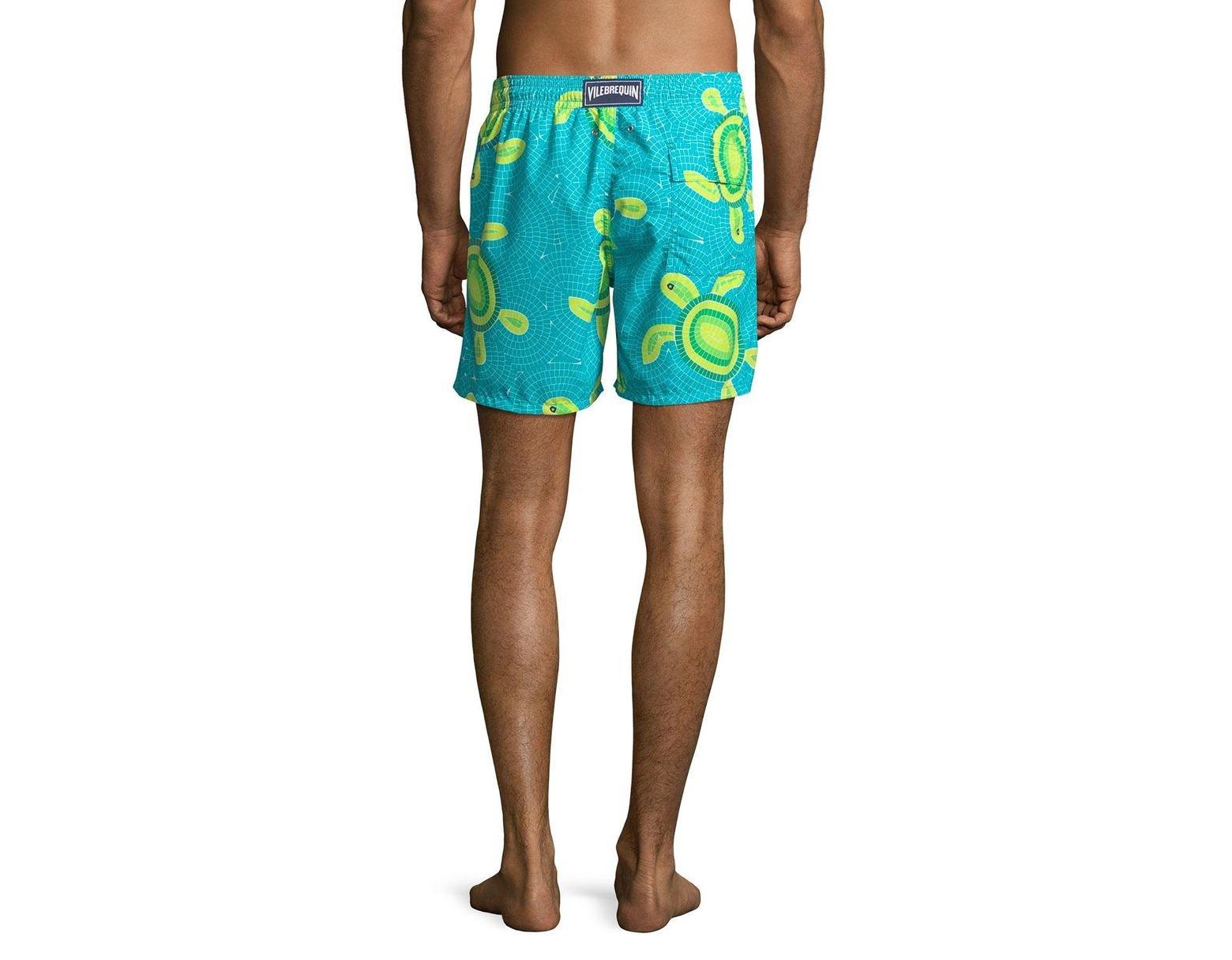 15c1a82093 Vilebrequin Men's Moorea Mosaic Turtles Swim Trunks in Blue for Men - Lyst