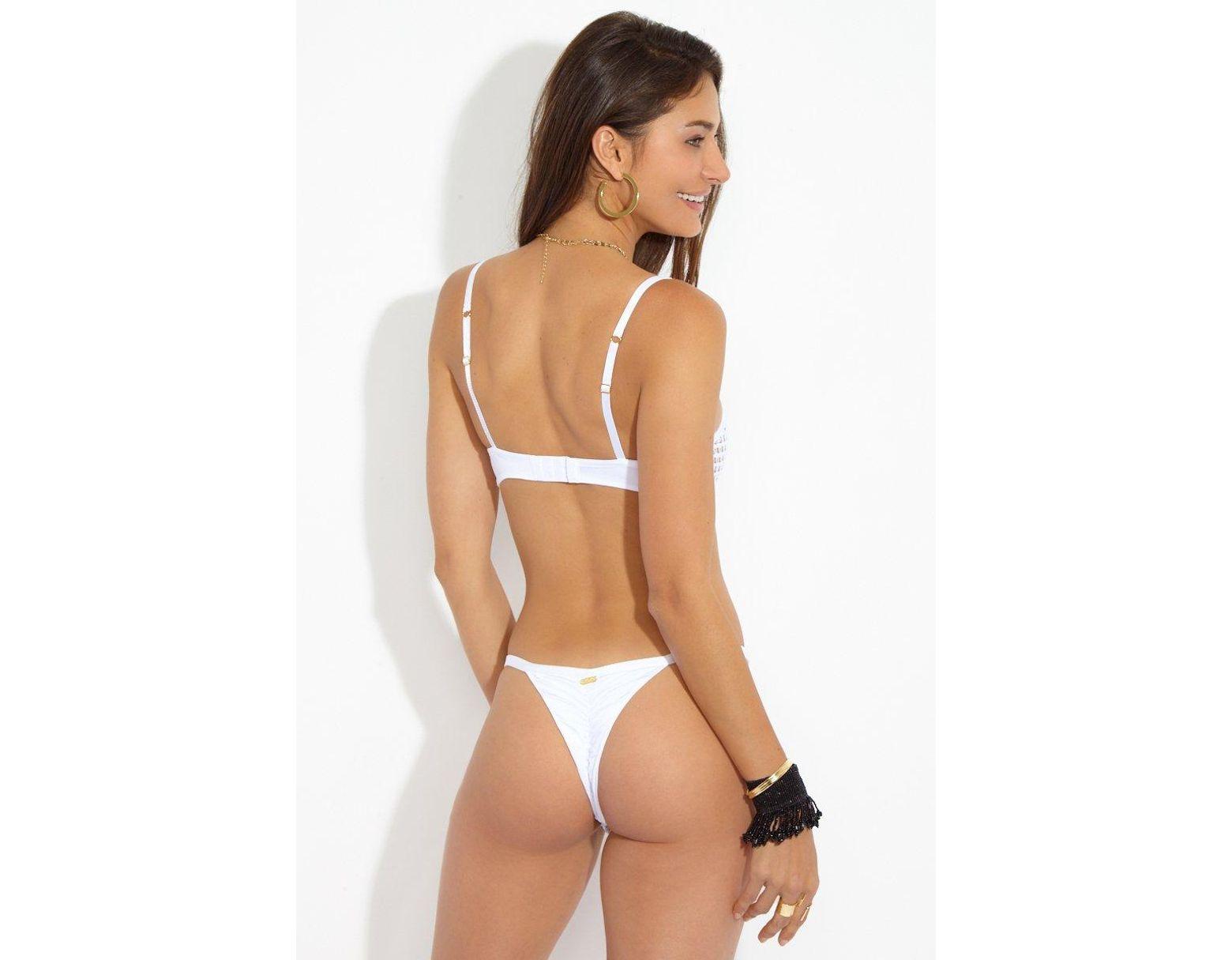 4efd6d09b0 Beach Bunny Ava Tango Mesh Thong Bikini Bottom - White in White - Lyst
