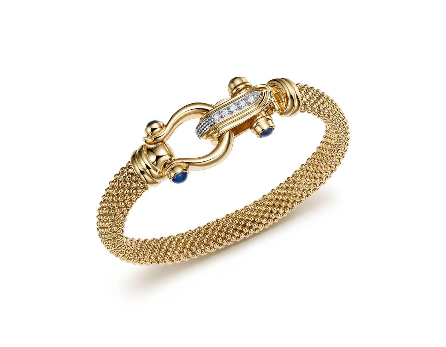 c413856ce Bloomingdale's 14k Yellow Gold Beaded Mesh Bracelet With Diamond Clasp in  Metallic - Lyst