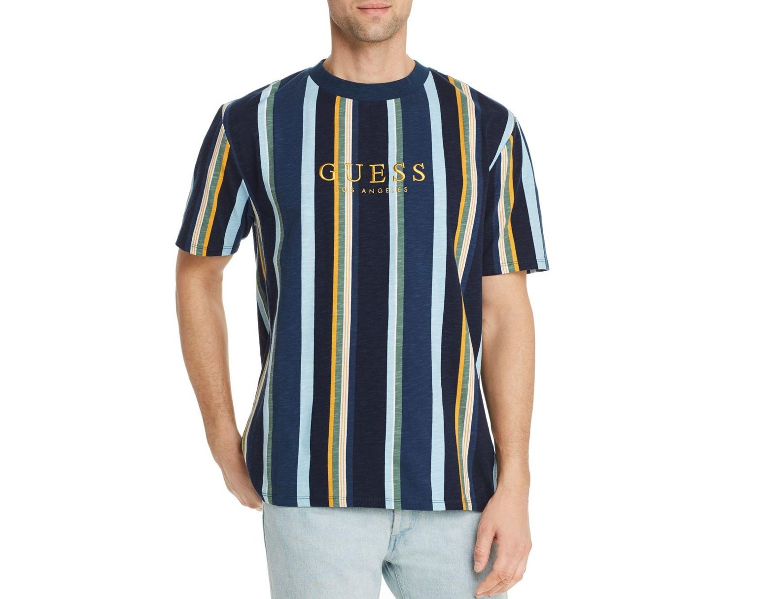 6f38b6665b Guess Striped Logo T-shirt in Blue for Men - Save 1% - Lyst