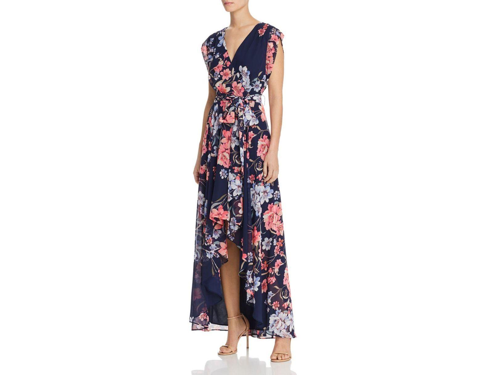 98c18be80b Eliza J. Women s Blue Plus Size Floral Print Faux Wrap Surplice V-neck Maxi  Dress
