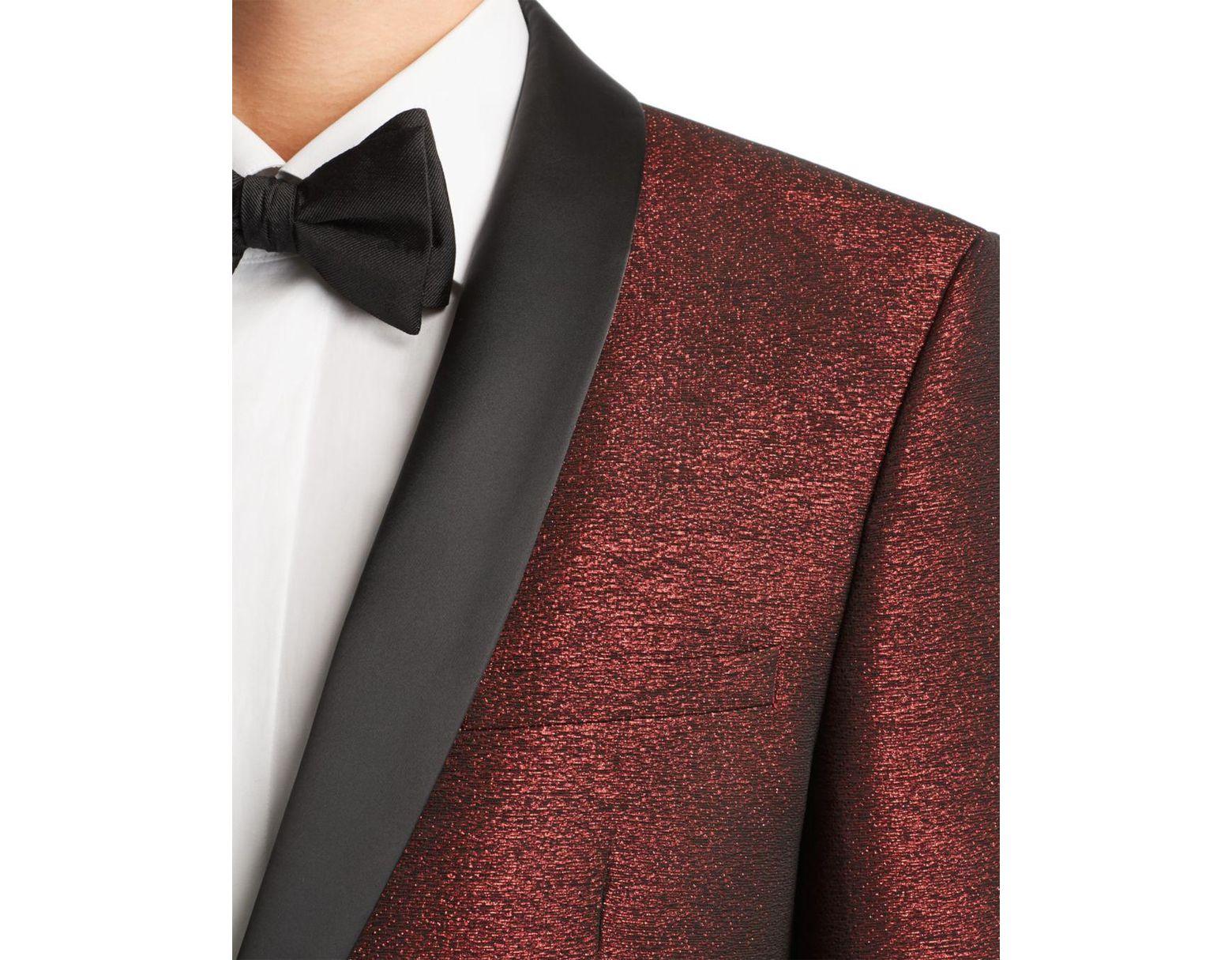 c6ffea26 HUGO Arti Sparkle Slim Fit Tuxedo Jacket in Red for Men - Lyst