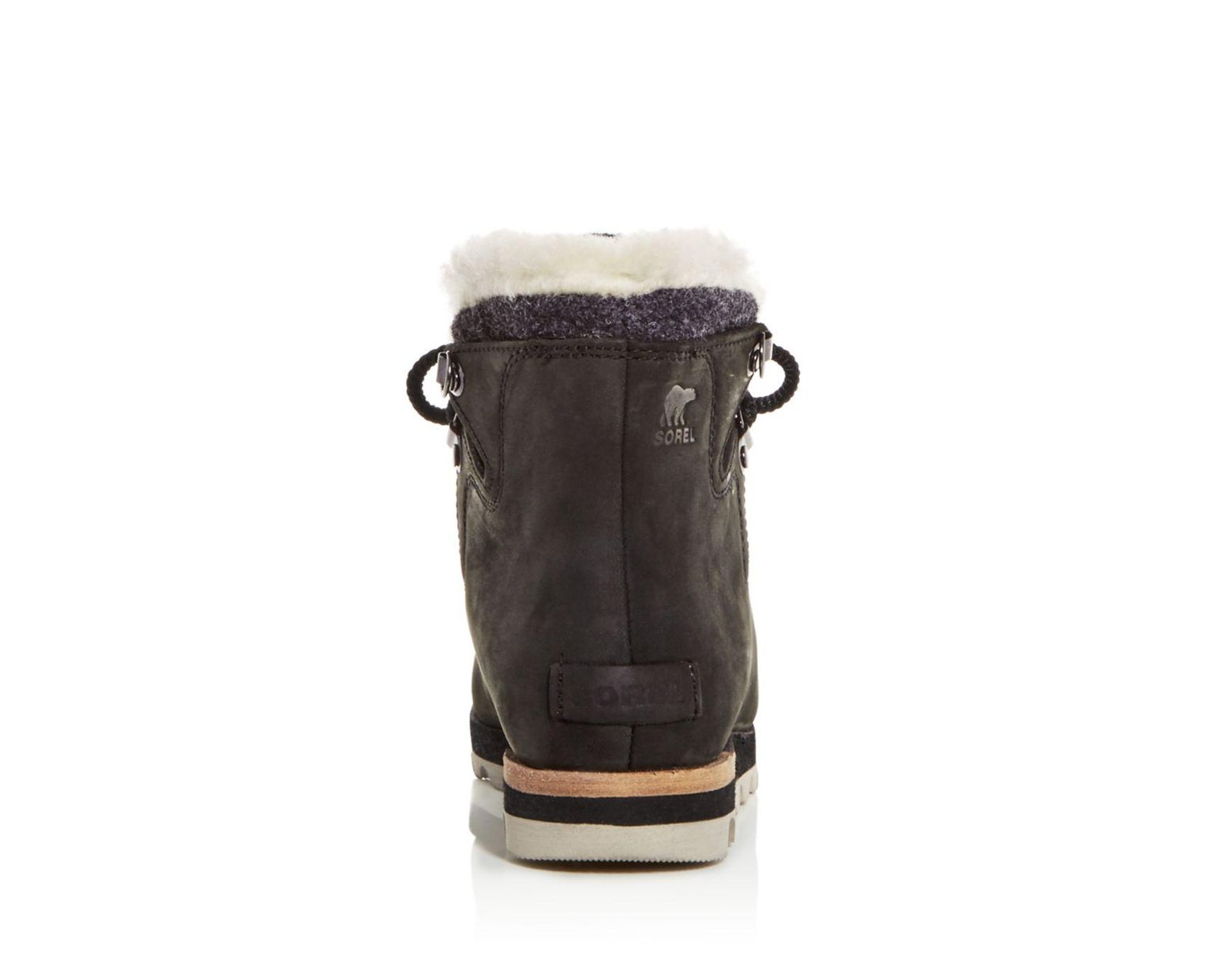 2feb9ab1c82 Sorel Women's Sneakchic Alpine Holiday Shearling Waterproof Cold - Weather  Boots in Black - Lyst