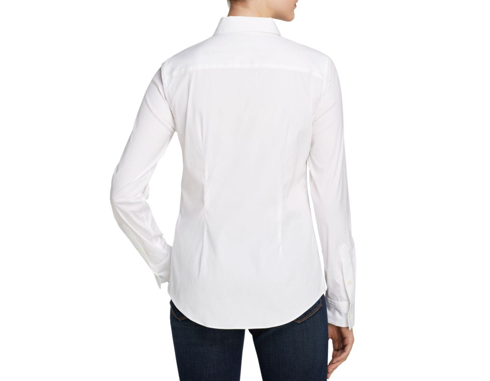 fc2ccd47314 Theory Top - Tenia Luxe Stretch Cotton in White - Save 4% - Lyst