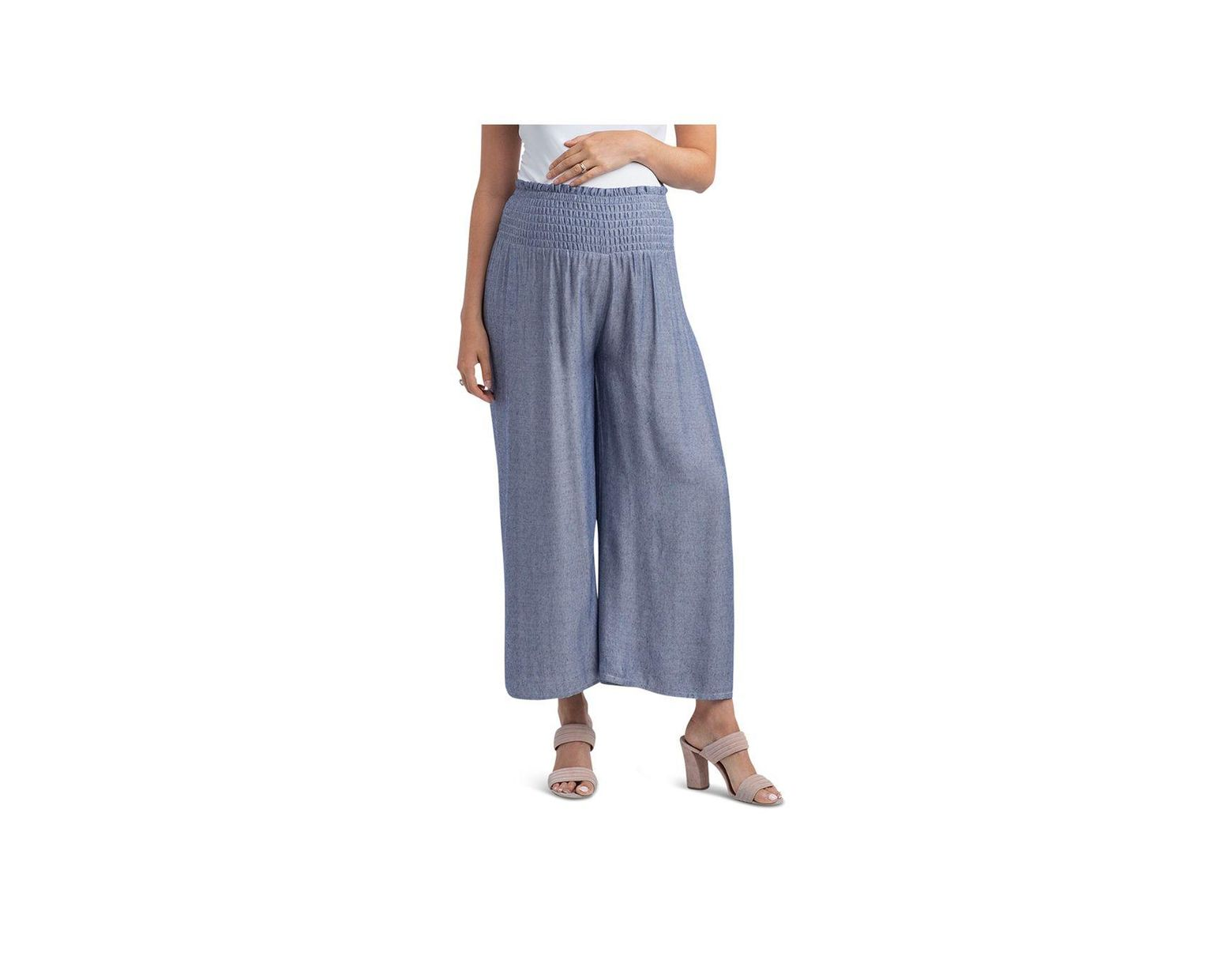 fdc24097c4b68 Nom Maternity Corsica Smocked Wide - Leg Maternity Pants in Blue - Lyst